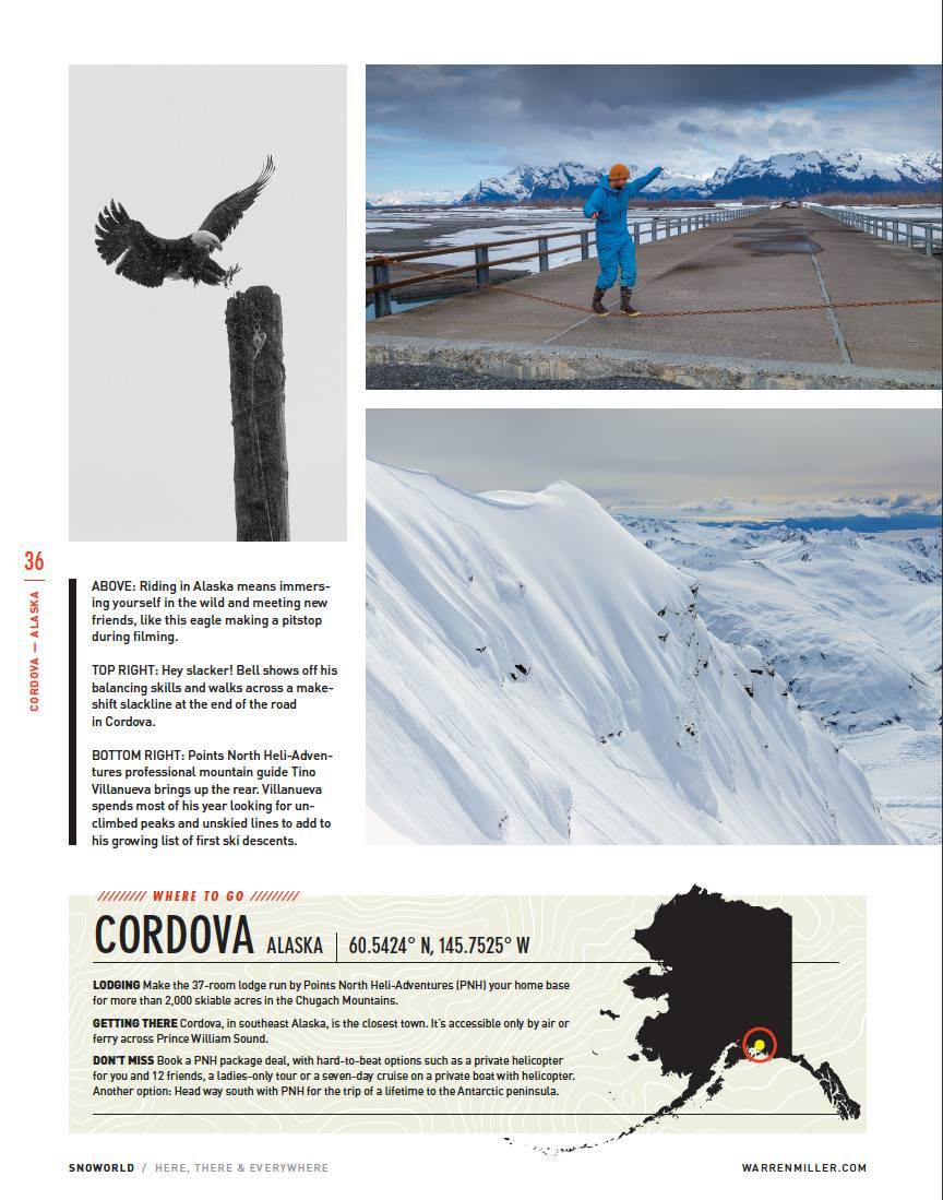 Tino skiing while guiding the Warren Miller file crew around the Chugach Mountains of AK. Photo: Court Leve
