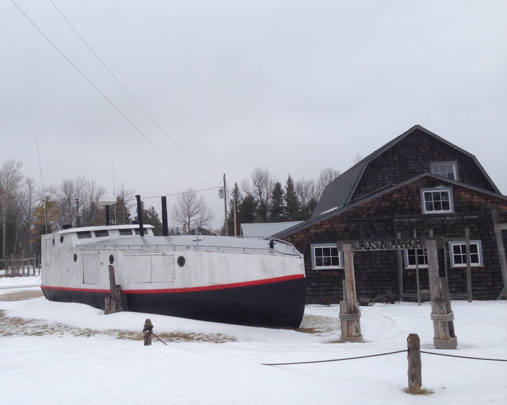 Jackson Harbor Maritime Museum asleep this Winter. Photo: Lew Clarke