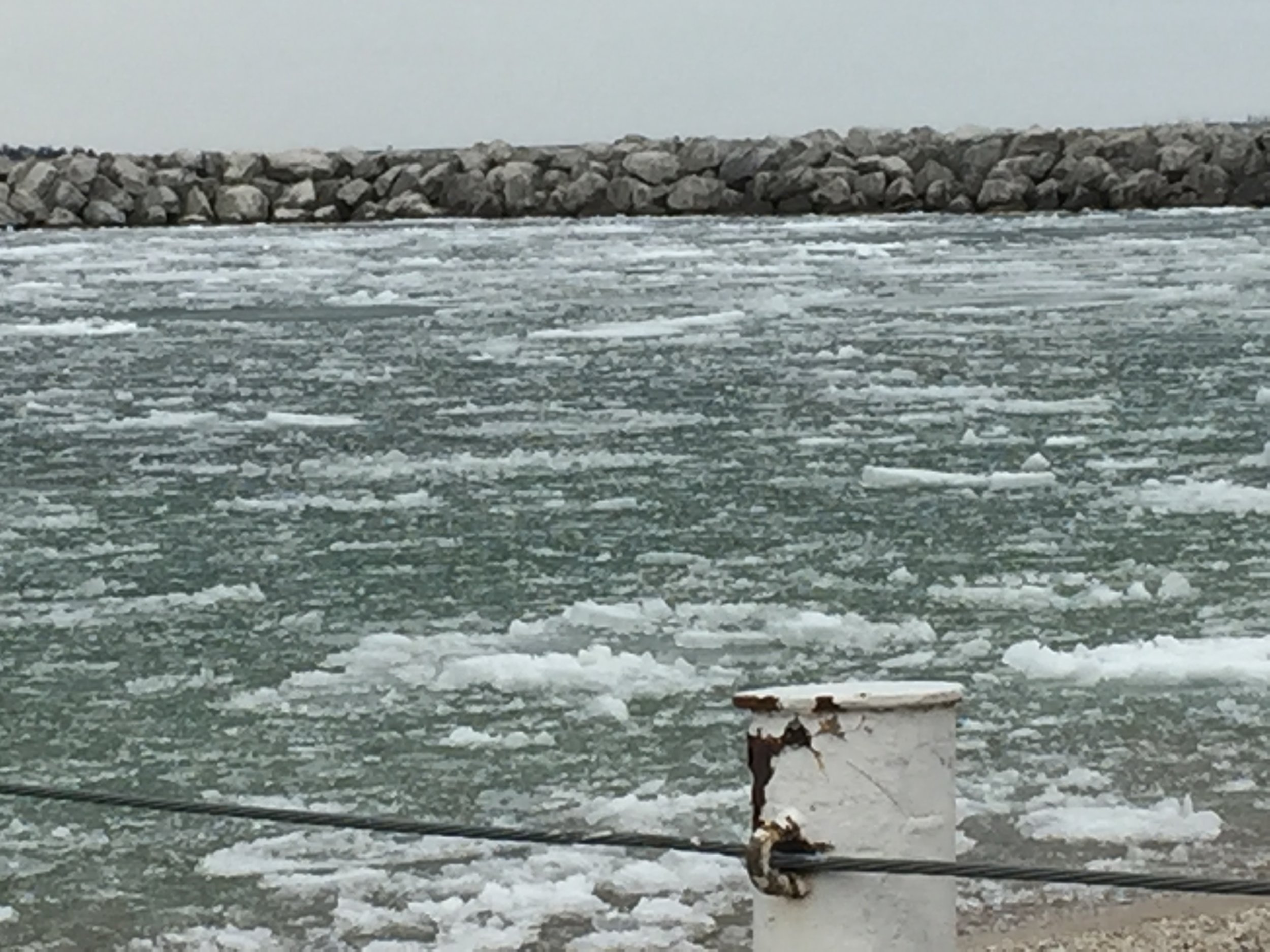 April 10 - On arrival @ Northport, a little deteriorating ice remains.