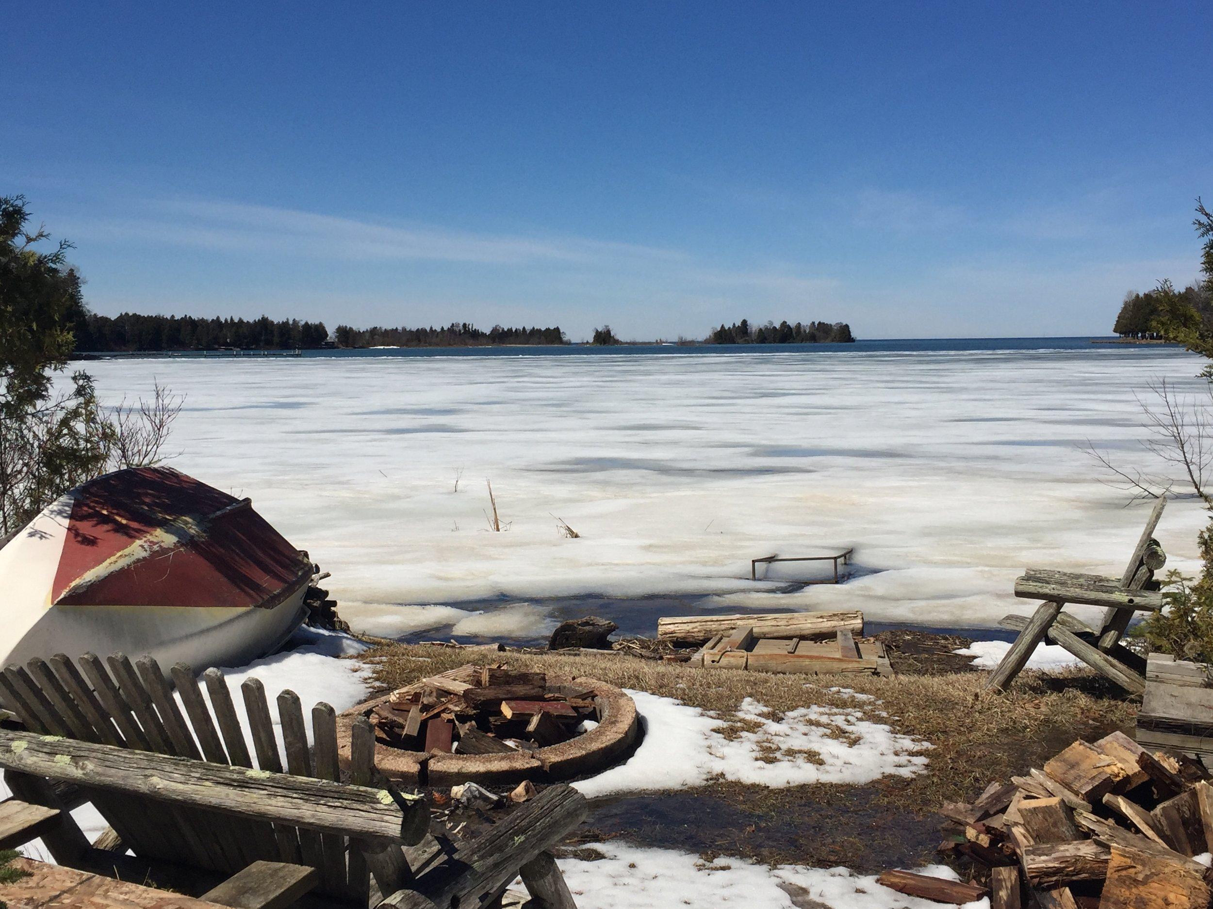 Figenschau Bay - April 15 - The ice starts to change.