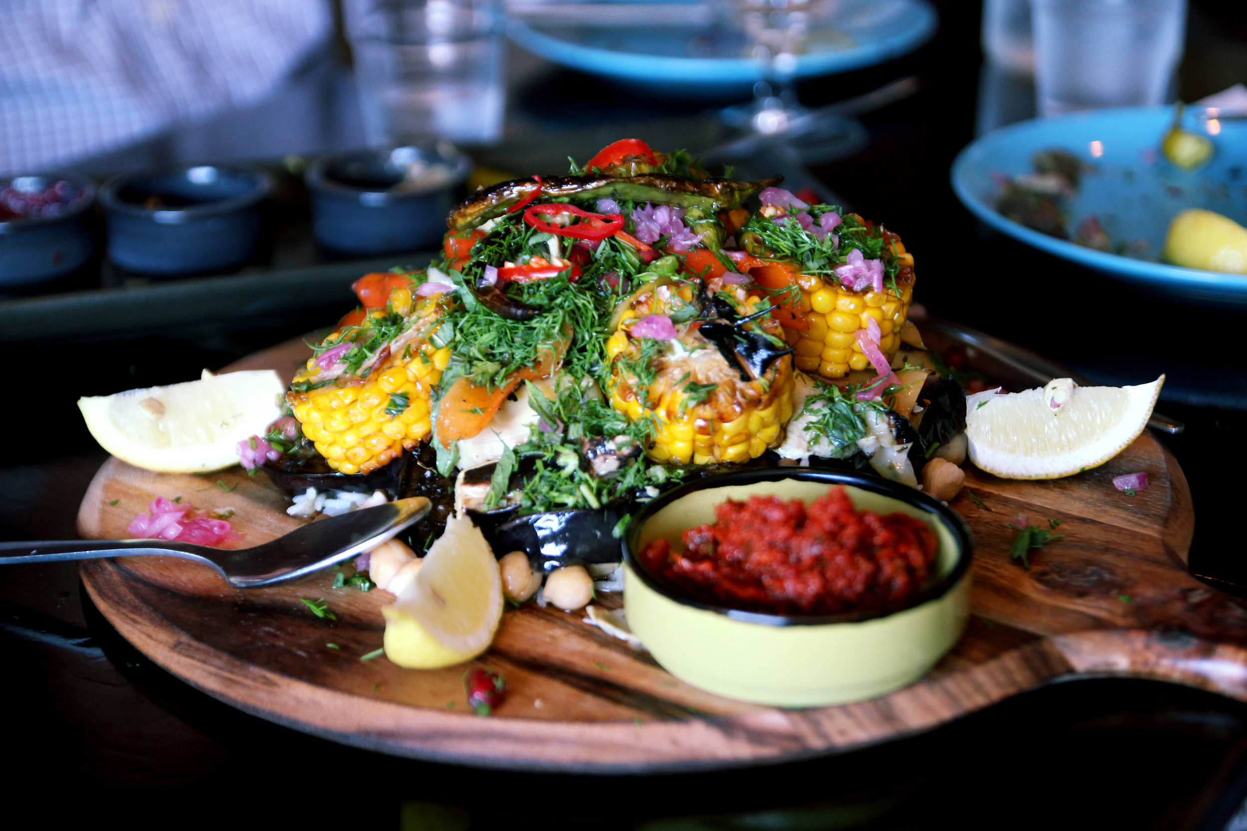 Ottoman Grill warm barbecued vegetables with lentils, Persian rice, mint & dill
