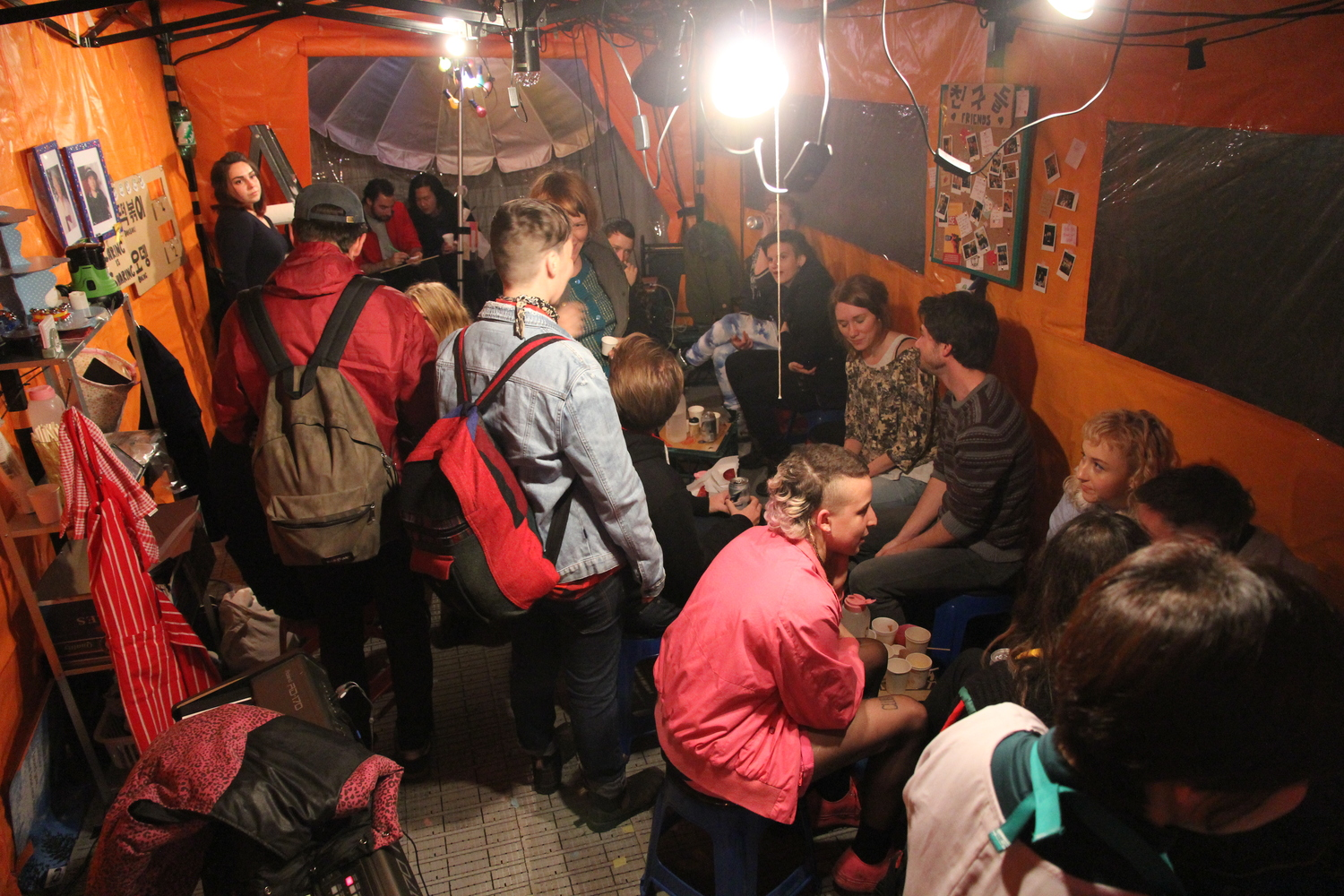 Friends, strangers, queers & Korean speakers hanging out in  The 떡볶이 Box as part of the 2014 Next Wave Festival