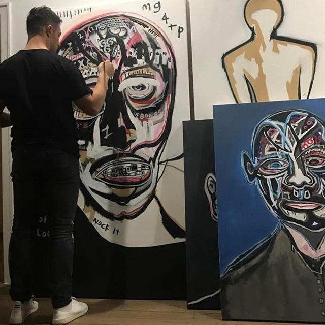 Work in progress 💀 . . . #studioview #contemporarypainting #contemptoraryart #abstractart #todaysartreport #artwork #artist  #painting #figurativeart #modernart #abstractartist #artcollector #visualart #expressionist #gallery #instaart #figuration #basquiat #picasso #cytwombly #francisbacon  #dekooning #abstractexpressionism #neoexpressionism #urbanart #streetart #abstractpainting #portraitpainting