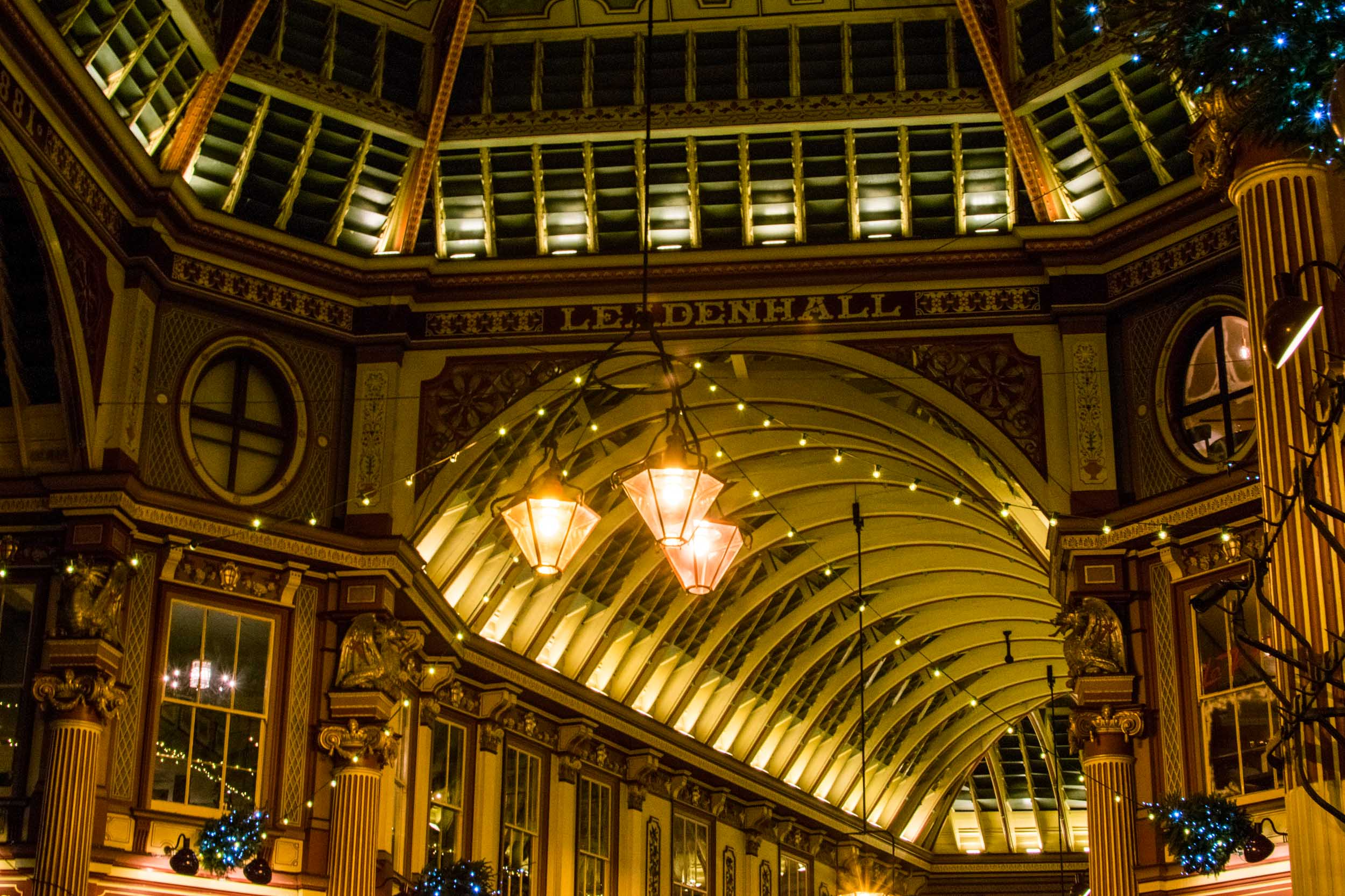 The arched roof of London's Leadenhall Market.