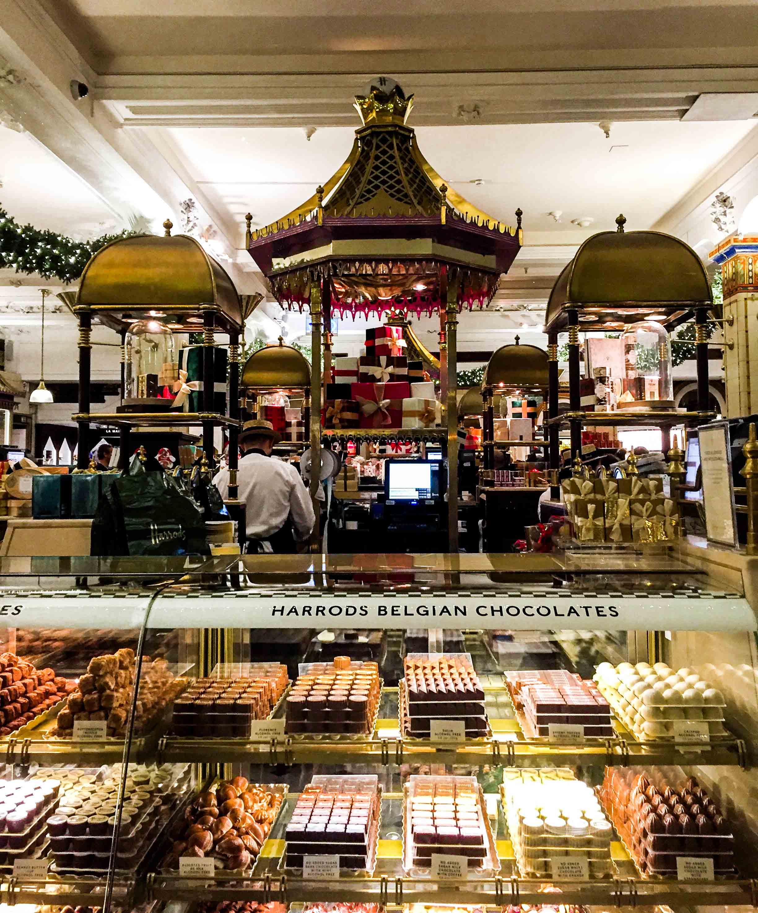 Harrods Belgian chocolates inside the Harrods food court, London.