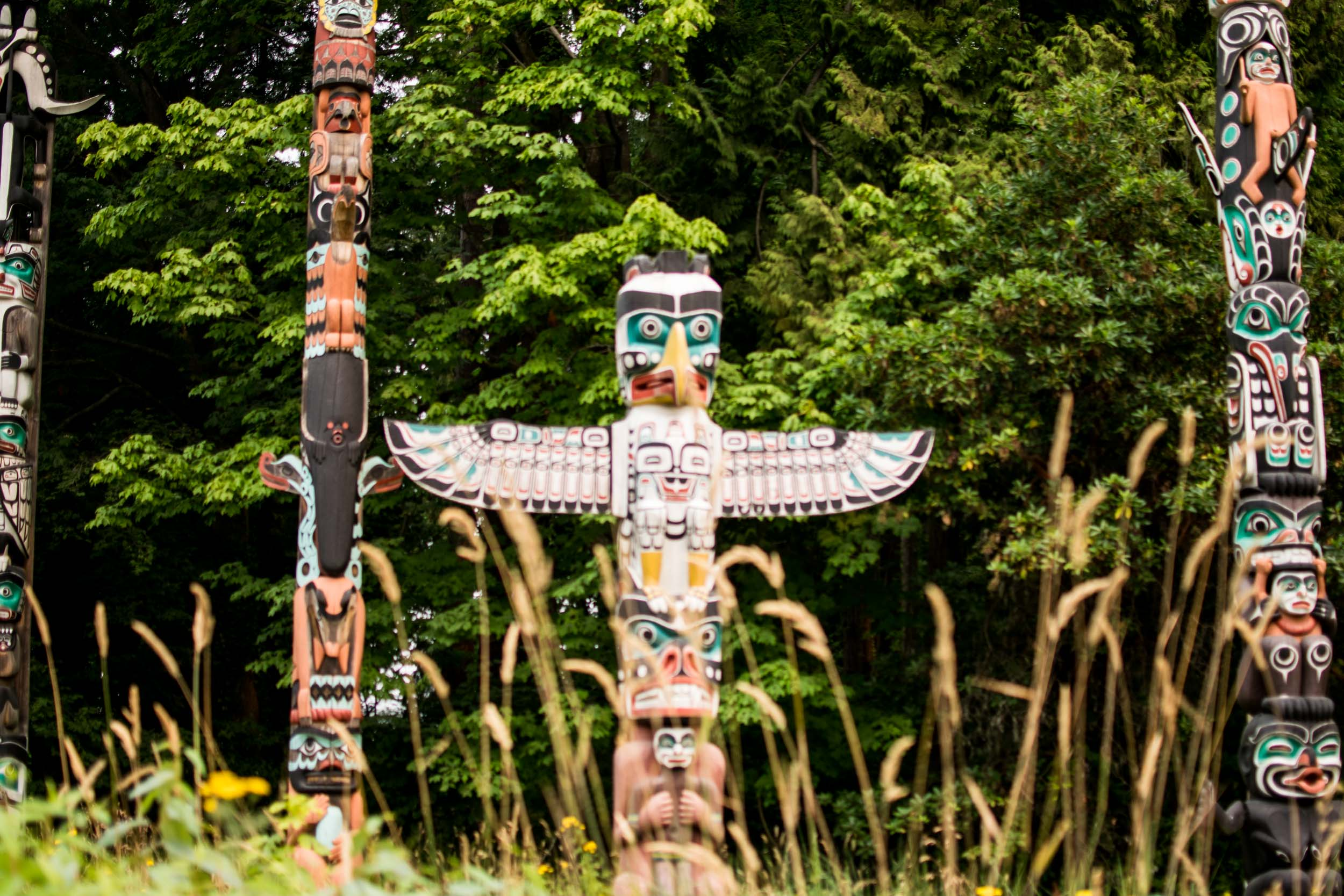 Totem Poles in Stanley Park, Vancouver.