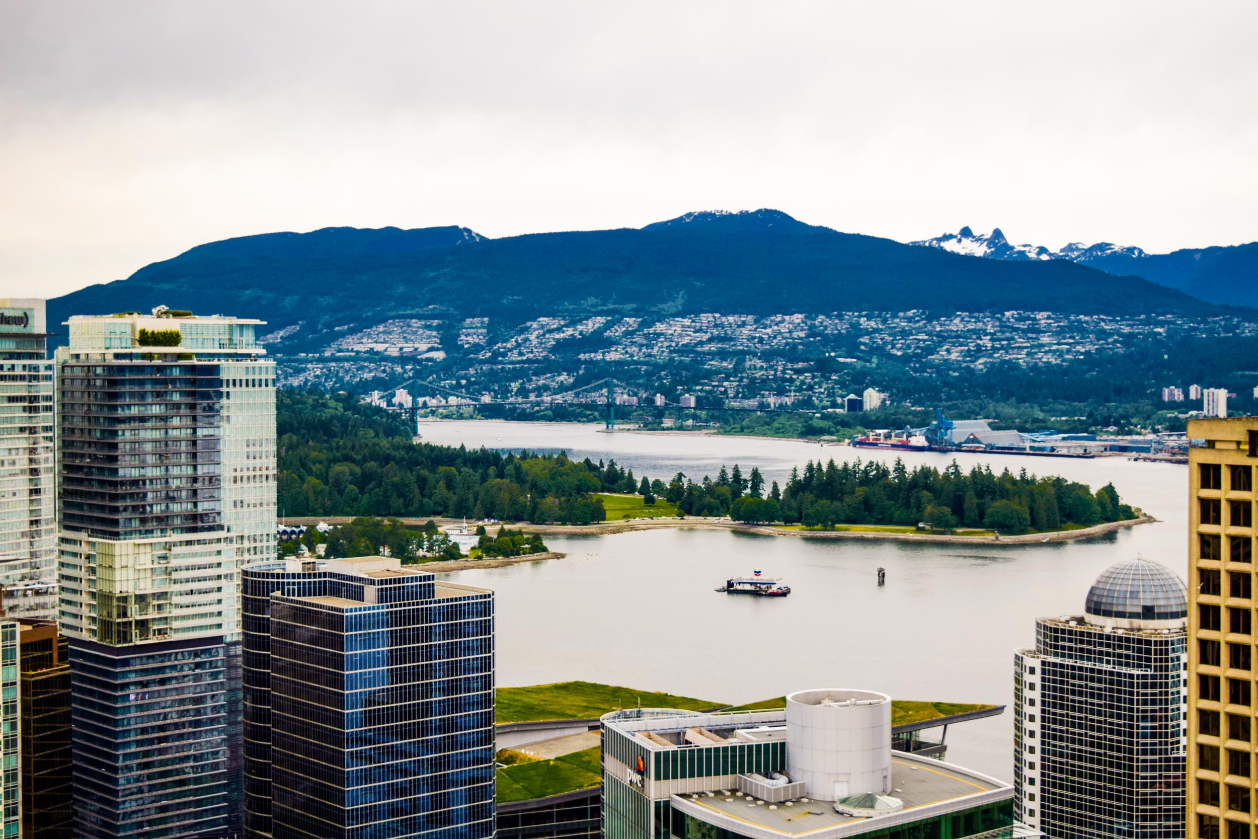 Views over Vancouver taken from the Vancouver Lookout Tower. The Vancouver Convention Centre, Stanley Park, Lions Gate Bridge and North Vancouver are all in view.
