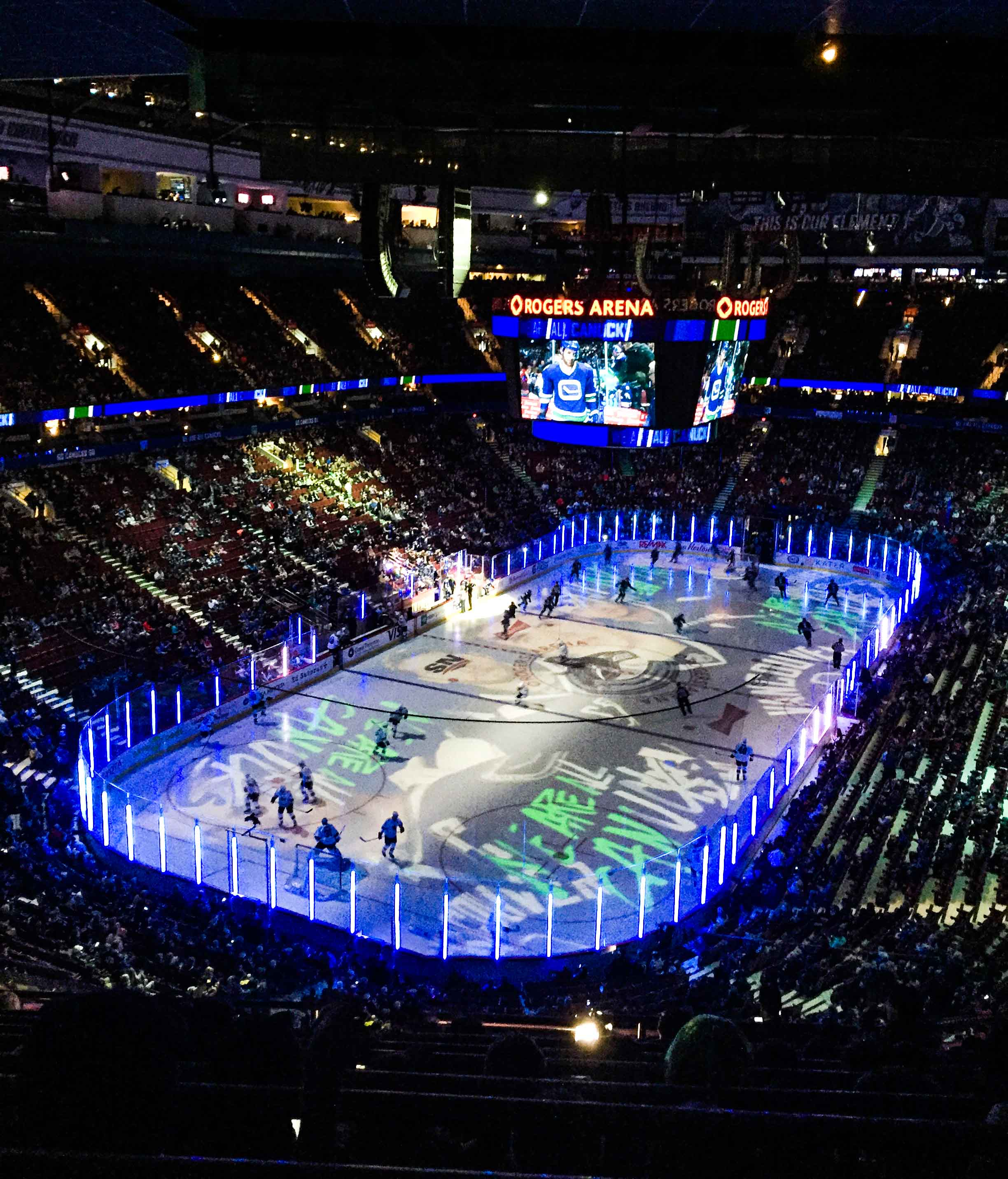 A Canucks game at Rogers Arena, Vancouver's ice hockey team.