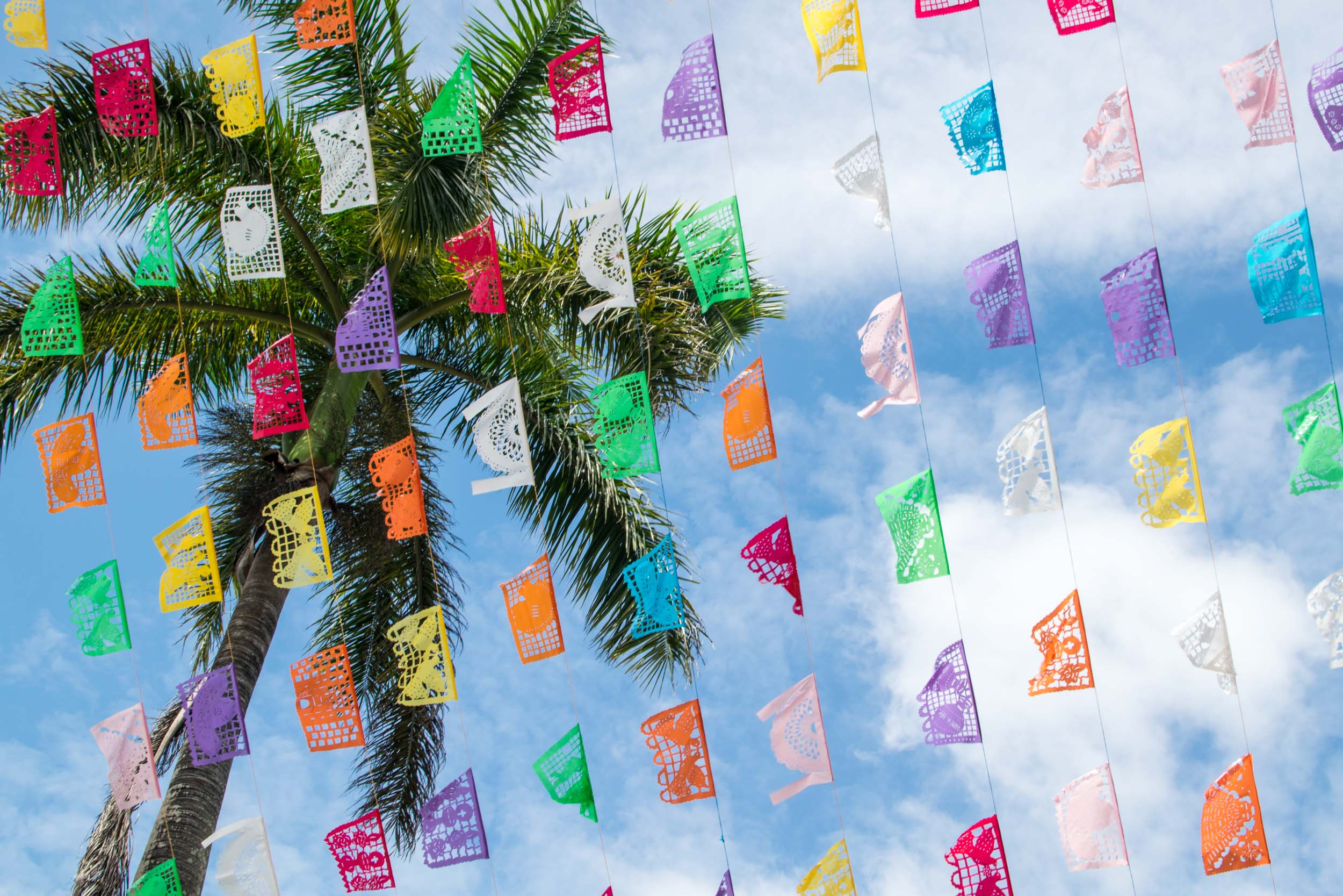Coloured flags against a blue sky with palm tree, Mexico.