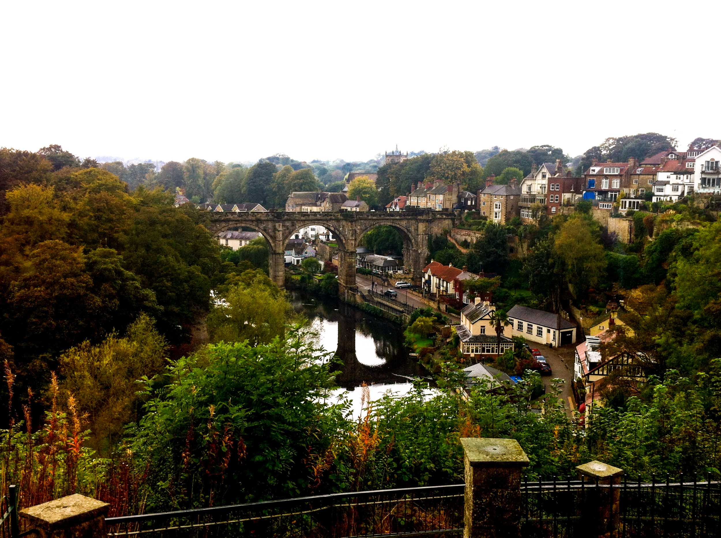 The picturesque Knaresborough viaduct in North Yorkshire, England.