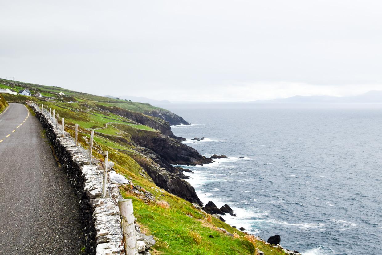 Dingle Peninsula coastline. Driving from Killarney to Dingle, County Kerry, Ireland.