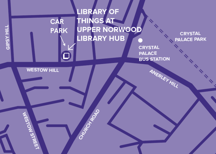 Full address: 39-41 Westow Hill, SE19 1TJ.  There is a car park just behind the library. To find it, take a left off Westow Hill down Beardell Street, immediately after Upper Norwood Library Hub. Drive about 20 yards, and the car park is through a gate on your left (marked as private).