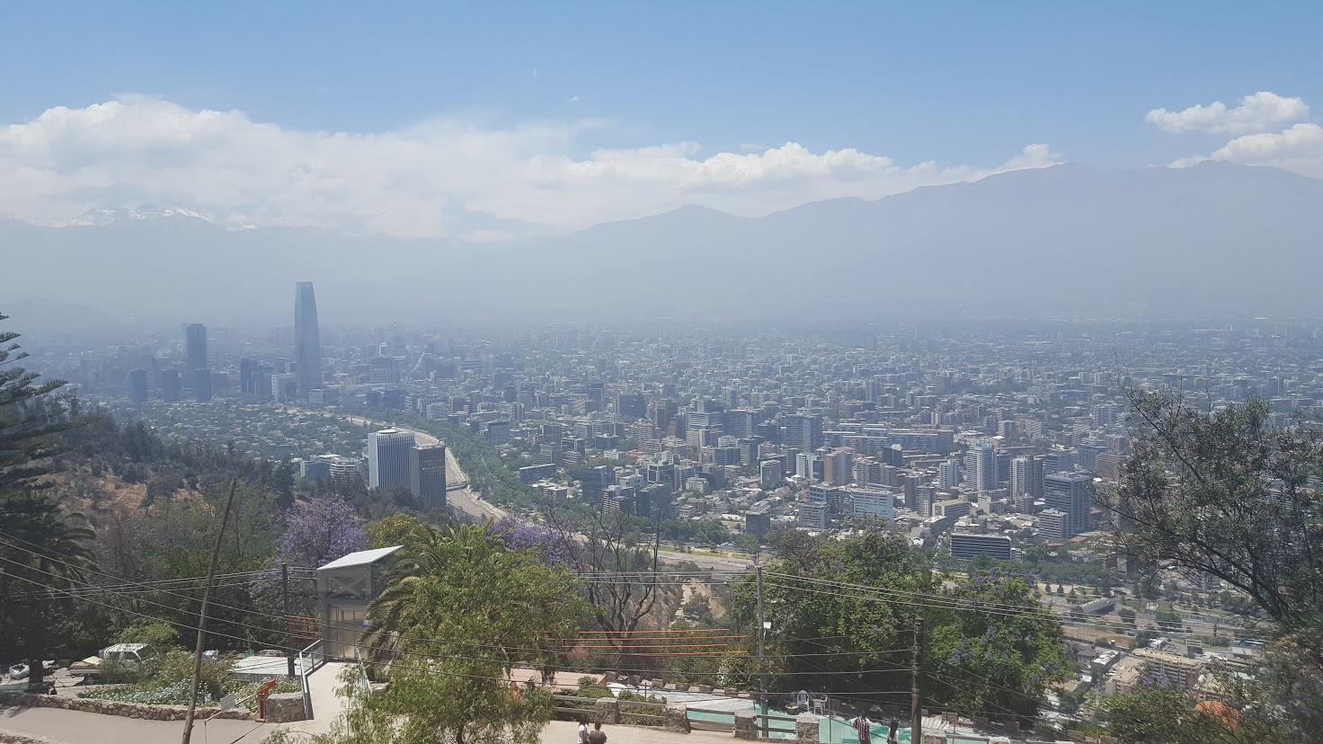 The Andes and Santiago. Soft focus added by the smog