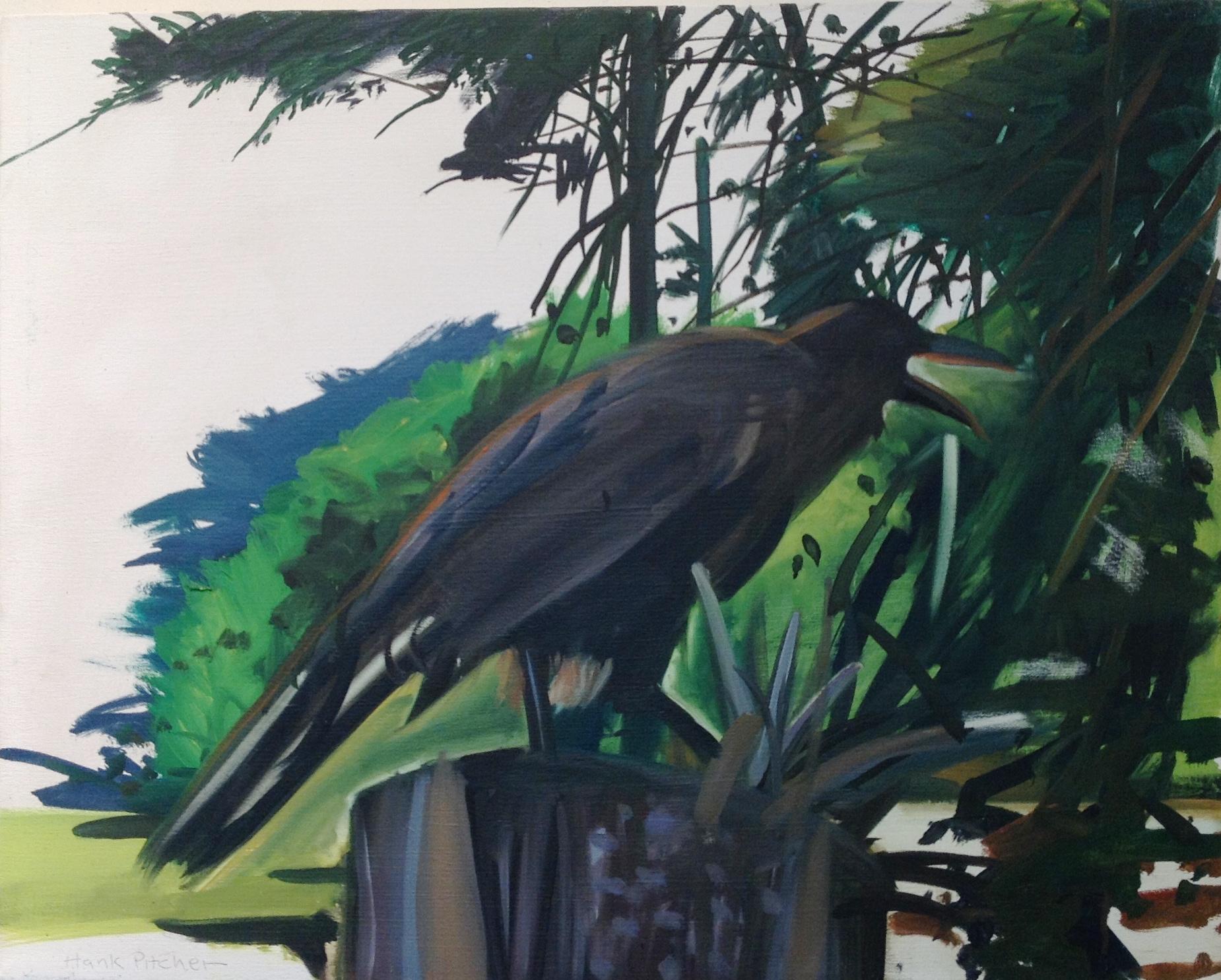 Title:   A Crow on a Stump    Medium:  Oil om Canvas   Size:  24 x 30