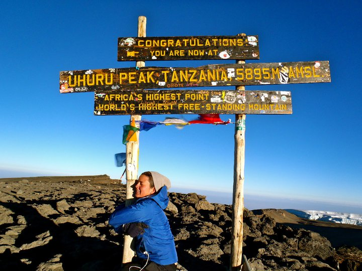 At the summit of Mt. Kilimanjaro