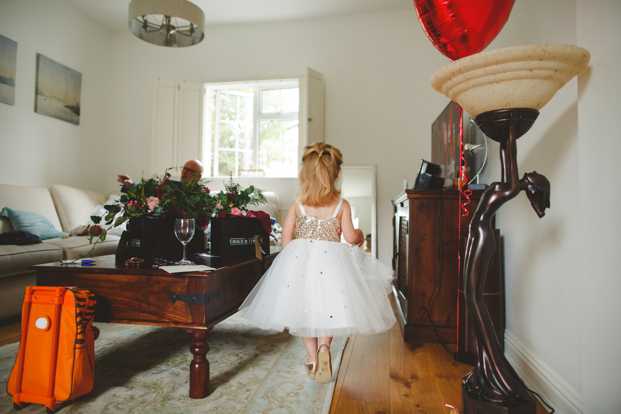 flower girl at london wedding in vintage dress photo