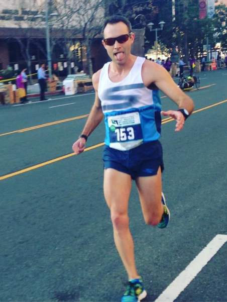 Caleb, seen here during the recent LA Marathon, is returning to some speed.