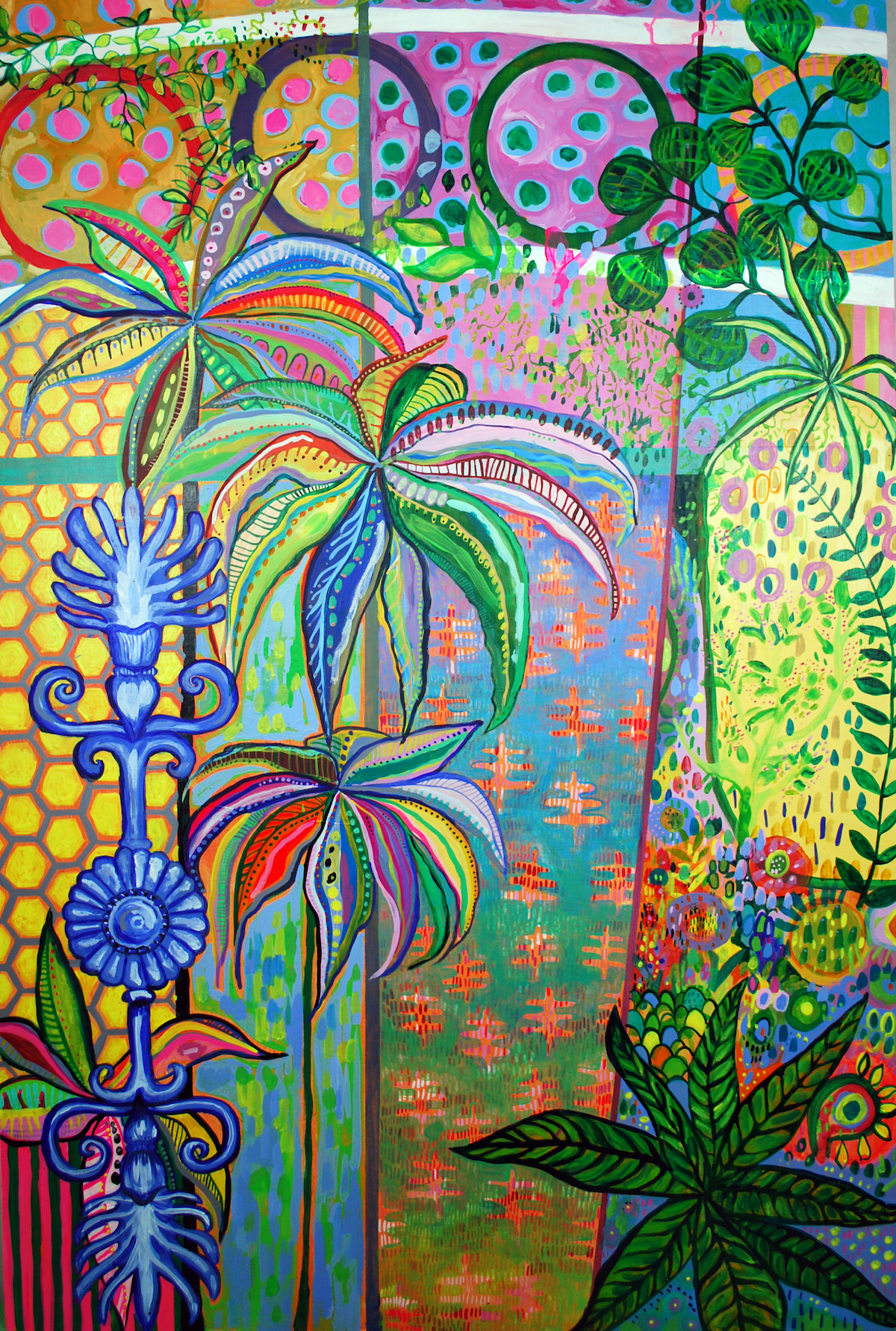 Herbaceous Hot House 2 (49.5 H x 33.3 W x 2 in) Acylic on wood panel .jpg