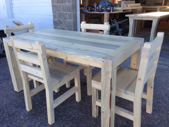 Chatfield Dining Table  with   Rustic Dining Chairs