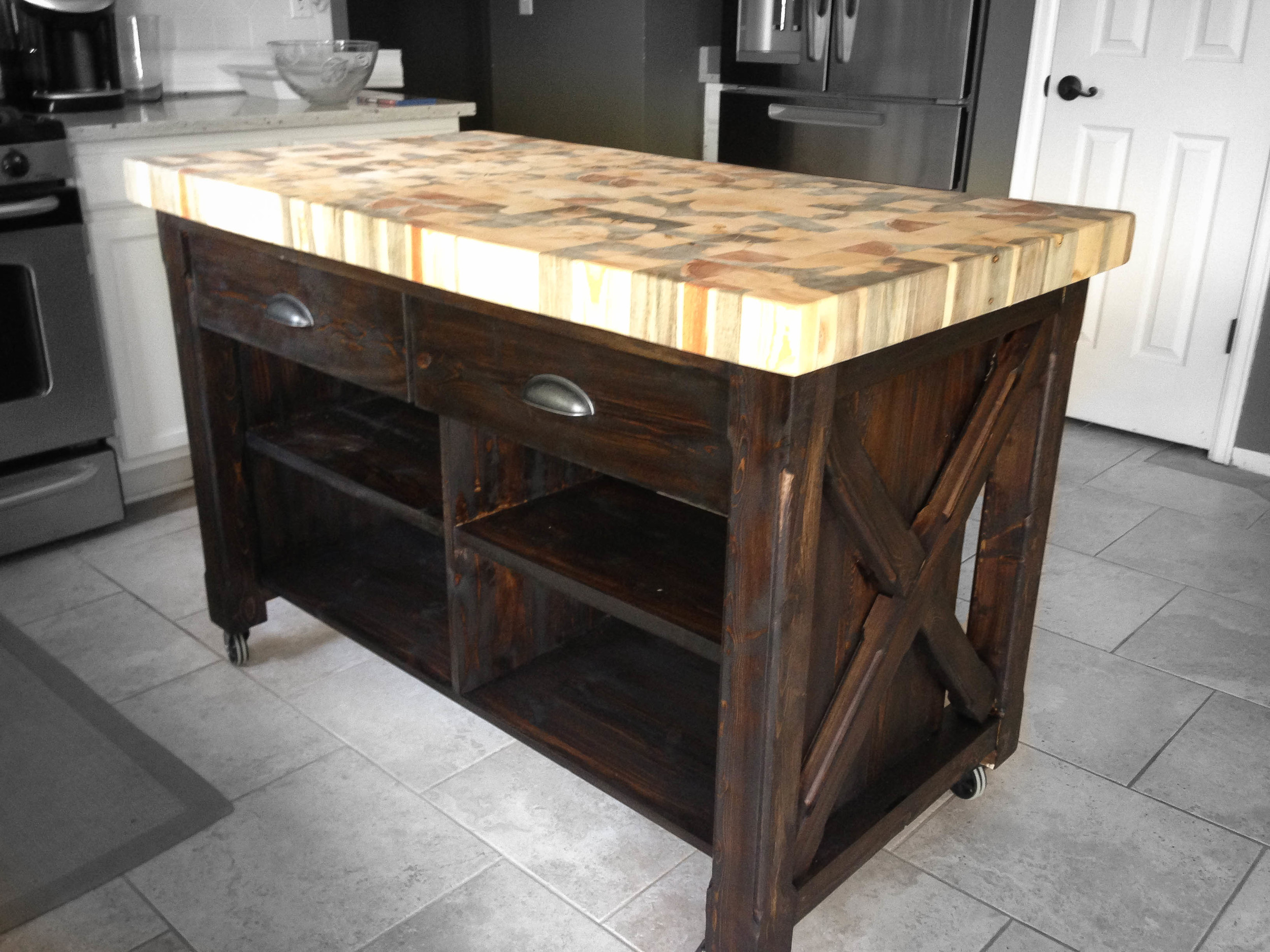 The Tabor • Double Drawer Kitchen Island    shown in espresso stain Contact Us for help and get an exact quote for your Kitchen Island