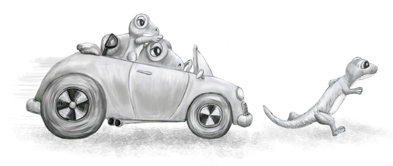 After one too many comparisons to the Geico Gecko, the Gekkards take revenge in their uninsured hot rod