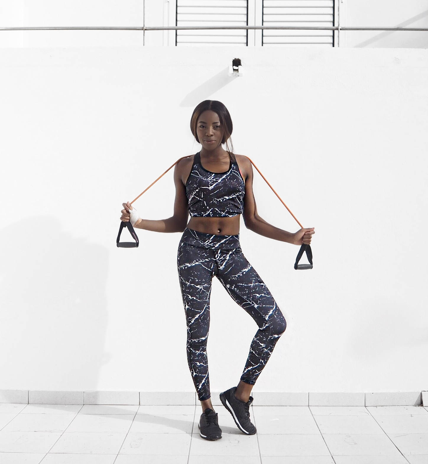 New Look Marble Print Leggings and Top