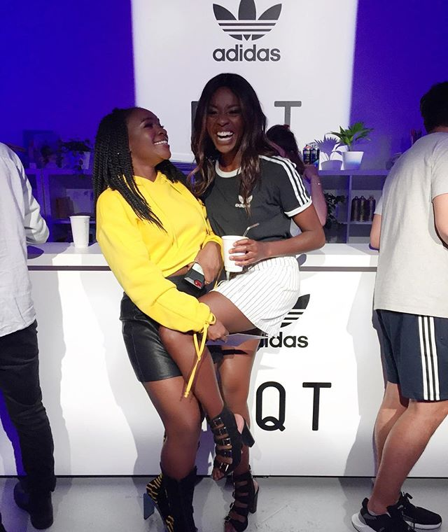 KNEES UP 🥂 My leg's literally heavy, @rayblk knows this 💛 Let the weekend begin! 💃🏾💃🏾 #EQT