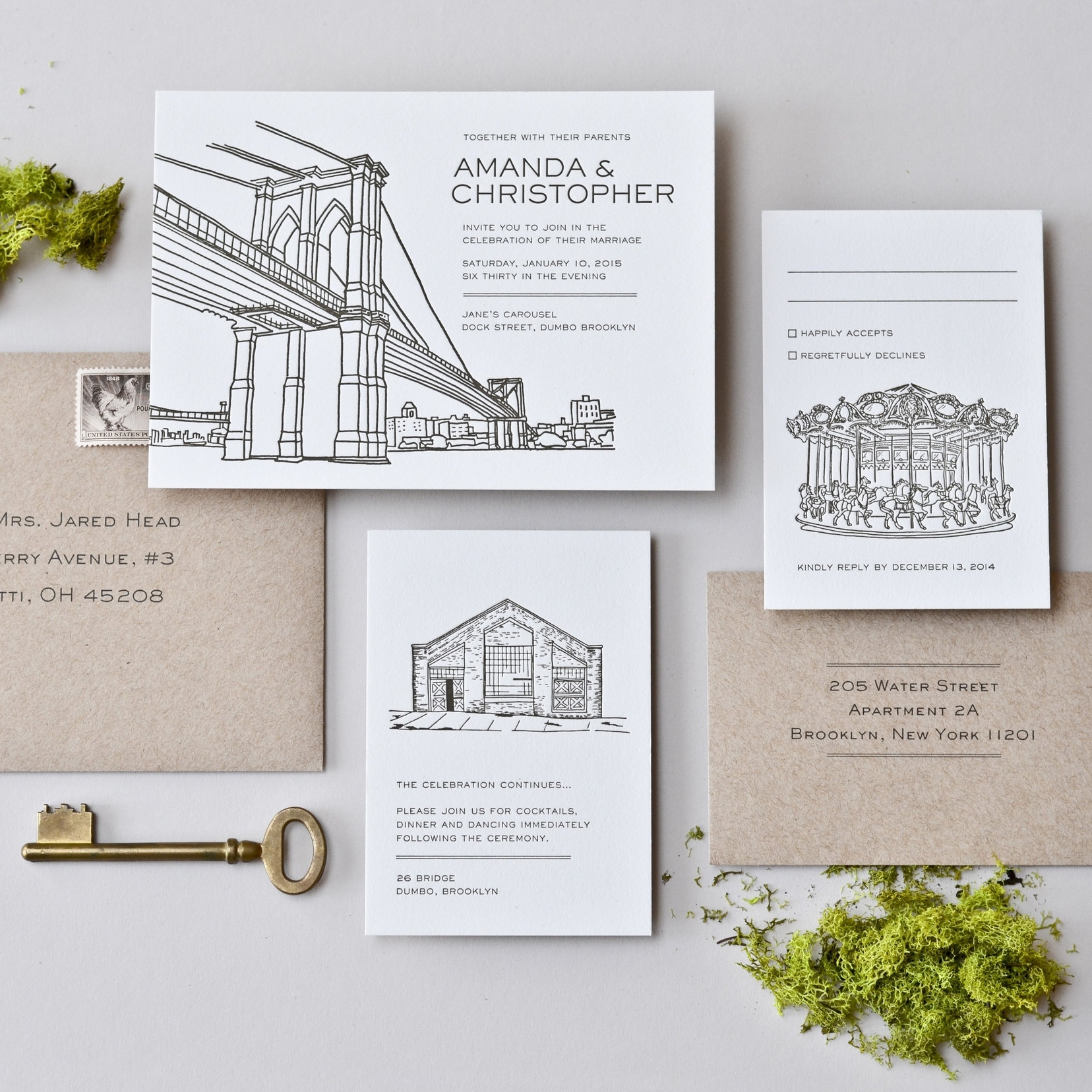 BROOKLYN One Color Letterpress on Pearl White Paper