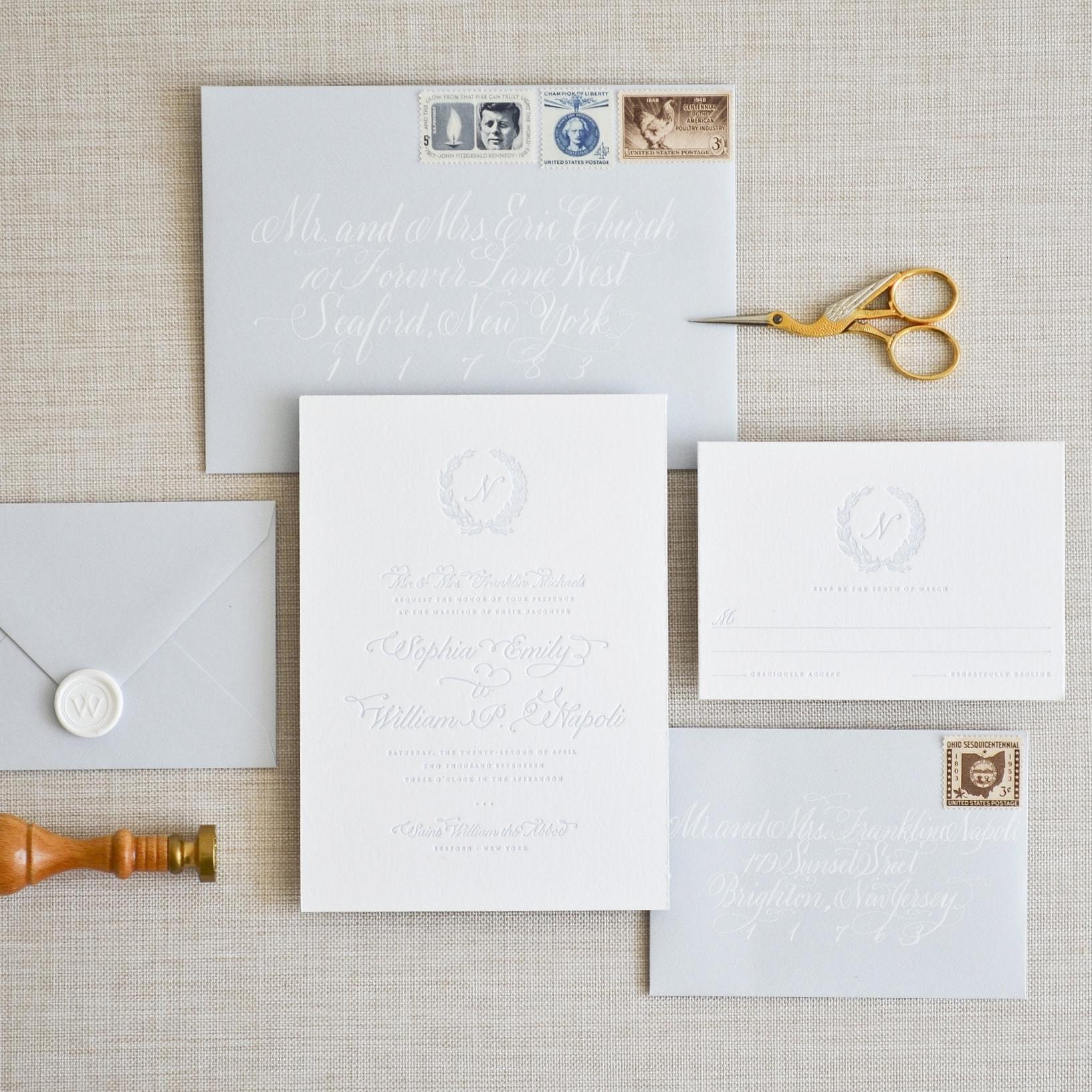 VINEYARD Dusty Blue Letterpress on Bright White Paper