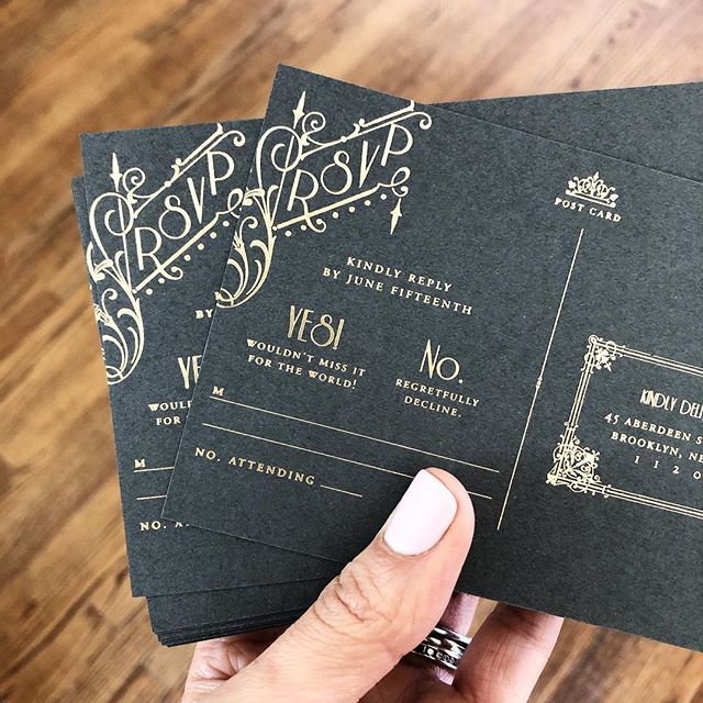 Reply postcards you don't wanna mail back. 🤩 . . . #letterpress #goldfoil #custominvitations #luxuryinvitations #weddinginvitations #invitations #invitationsuite #savethedate #celebrate #nyweddings #nybrides #liweddings #longislandweddings #librides #bestoflongisland #weddingstationery #stationery #stationerydesigner #dailydoseofpaper #paperlove #weddingdetails #typography #creativityfound #pursuepretty #thatsdarling #risingtidesociety #makersgonnamake #waxseals #avdesignfactory