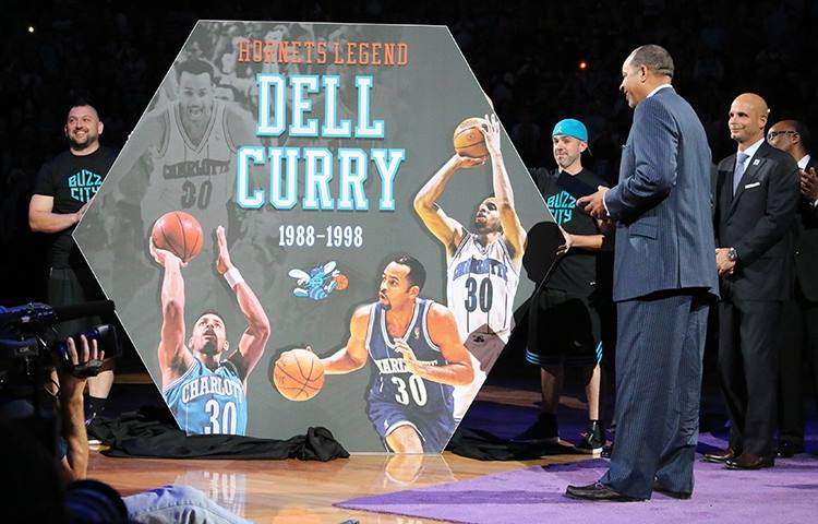 Charlotte Hornets Dell Curry Sign - Matrix Frame