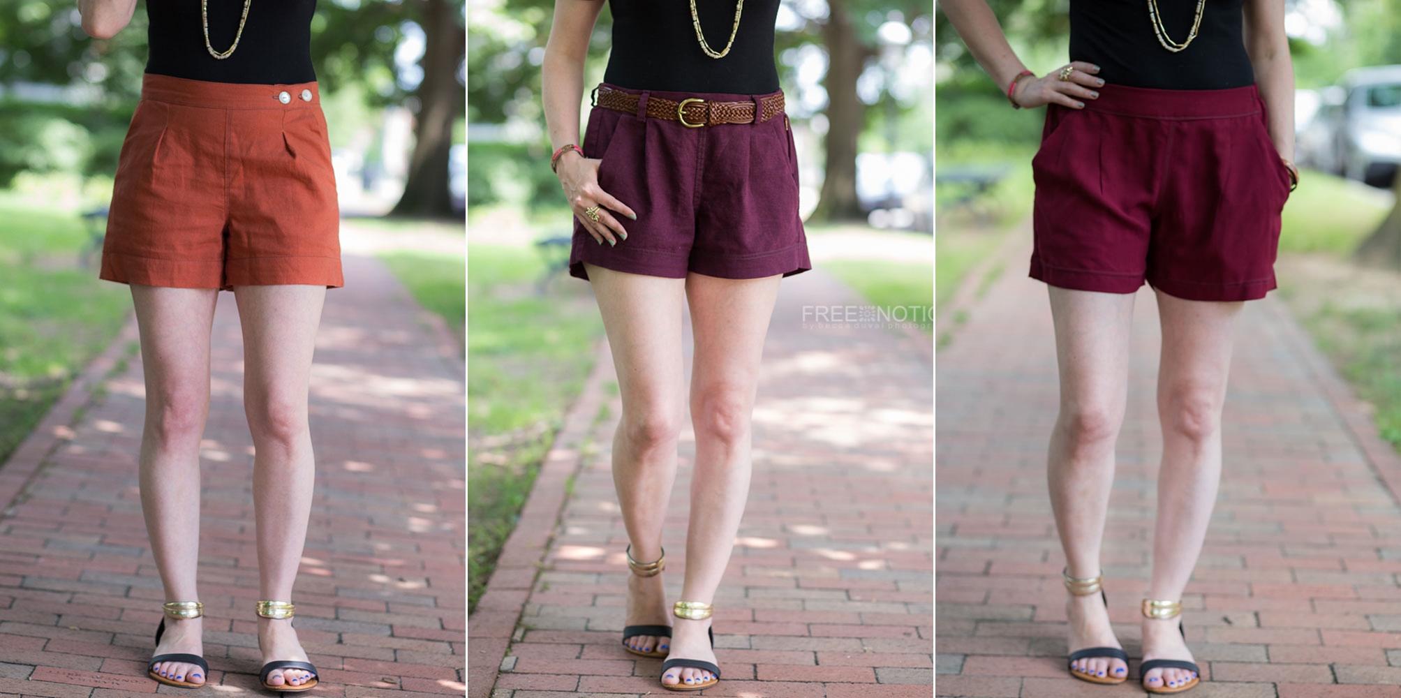Flint Shorts (Megan Nielsen) / Hepburn Shorts (Pattern Emporium) / Emerson Shorts (True Bias)