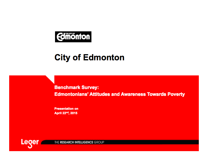 City of Edmonton - Poverty Benchmark Survey 2015 - Cover.png