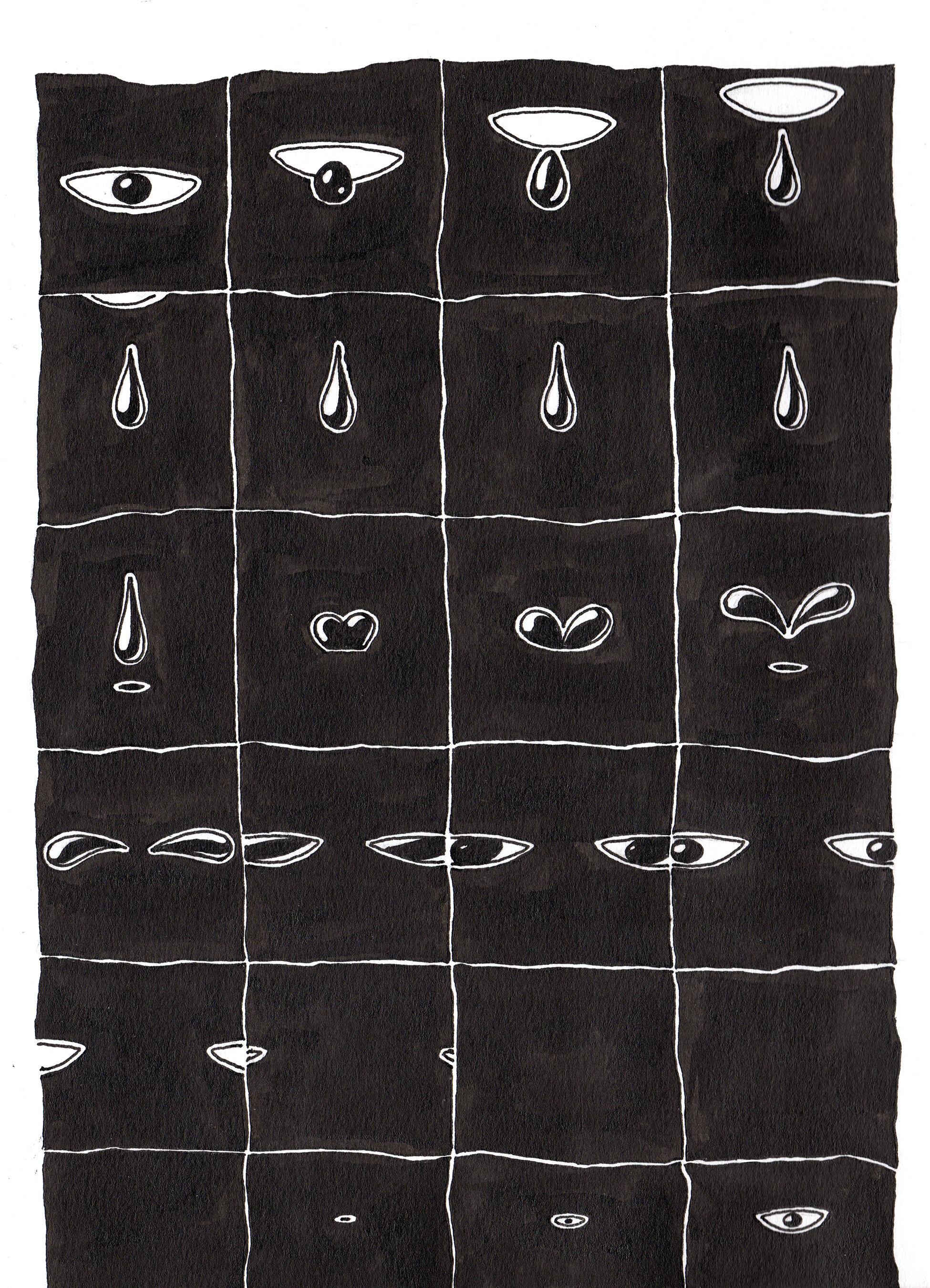 """Eye Drop - 6.5"""" x 9"""" ink on paper2019"""