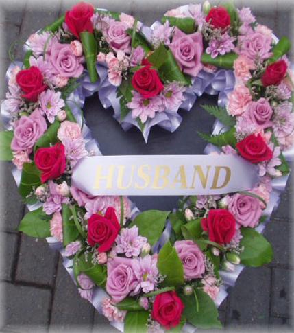 5. Funeral wreath - pink & redin heart shape
