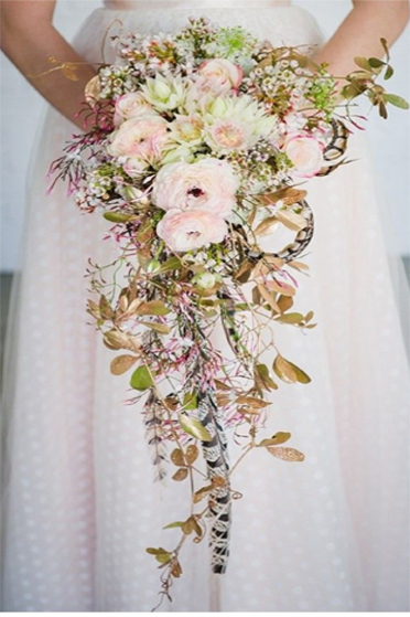 9. Bride's trailing bouquet in pink & green