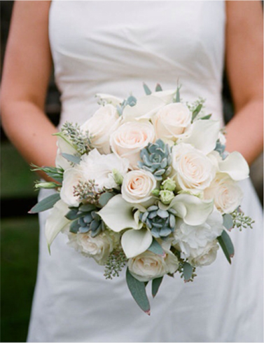 12. Bride's bouquet white & pink roses