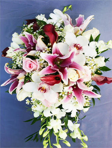 13. Bride's bouquet pink lilies with orchids