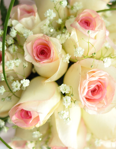 8. Table display cream & pink roses