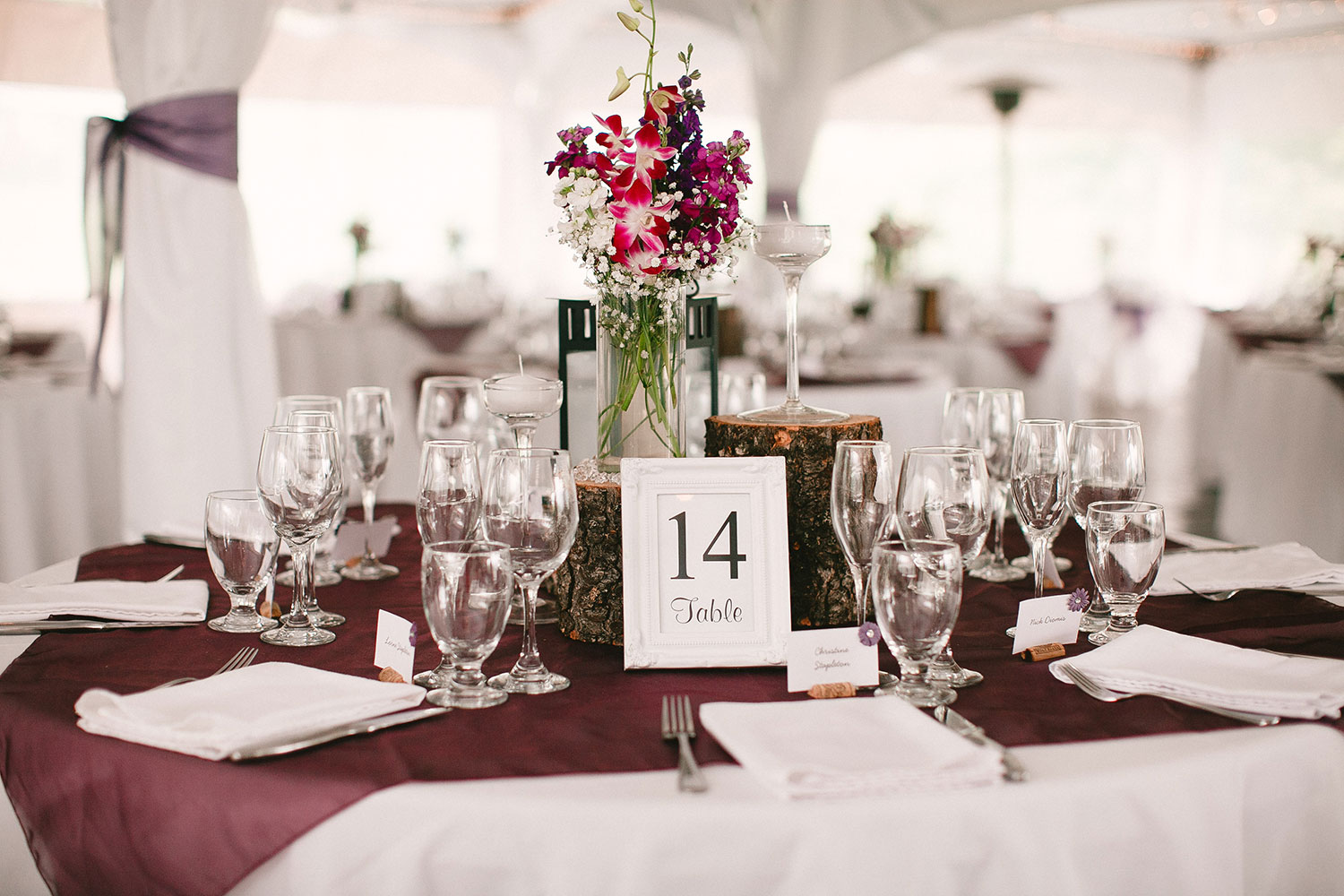 4. Table flowers in same colours as bride and bridesmaid bouquets.