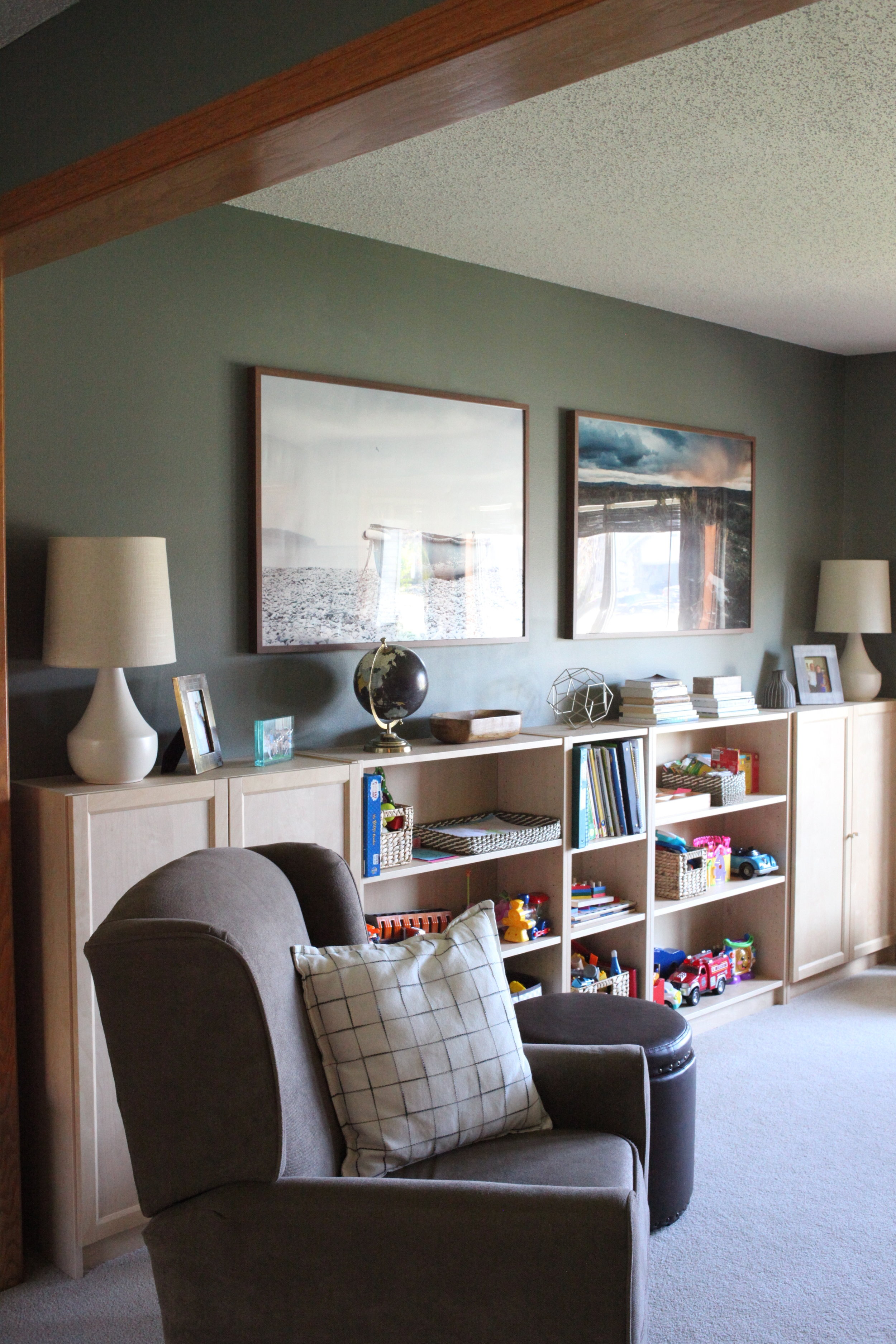Home school room makeover with large photo art and IKEA Billy bookcase
