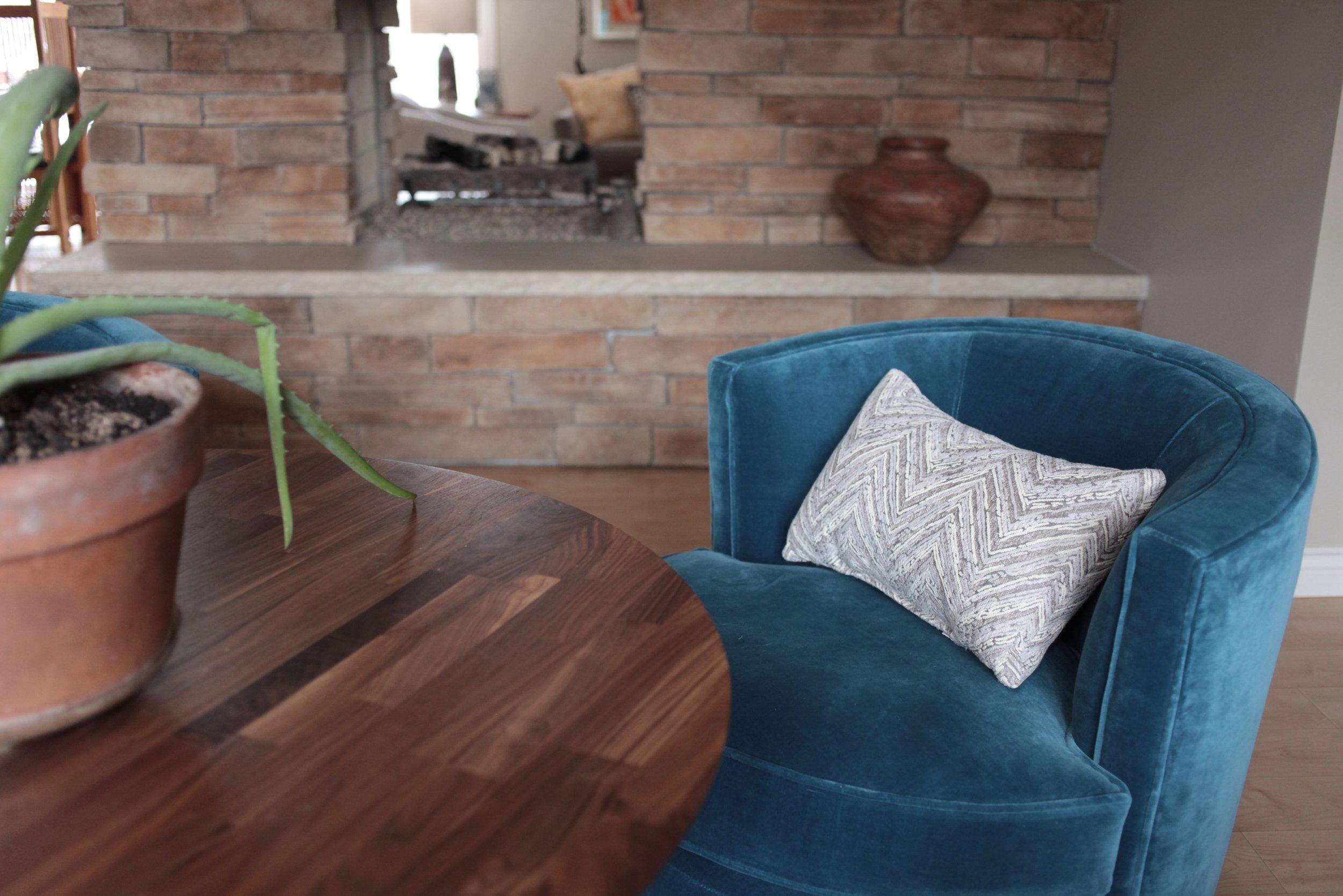 Blue velvet Room & Board Otis chair