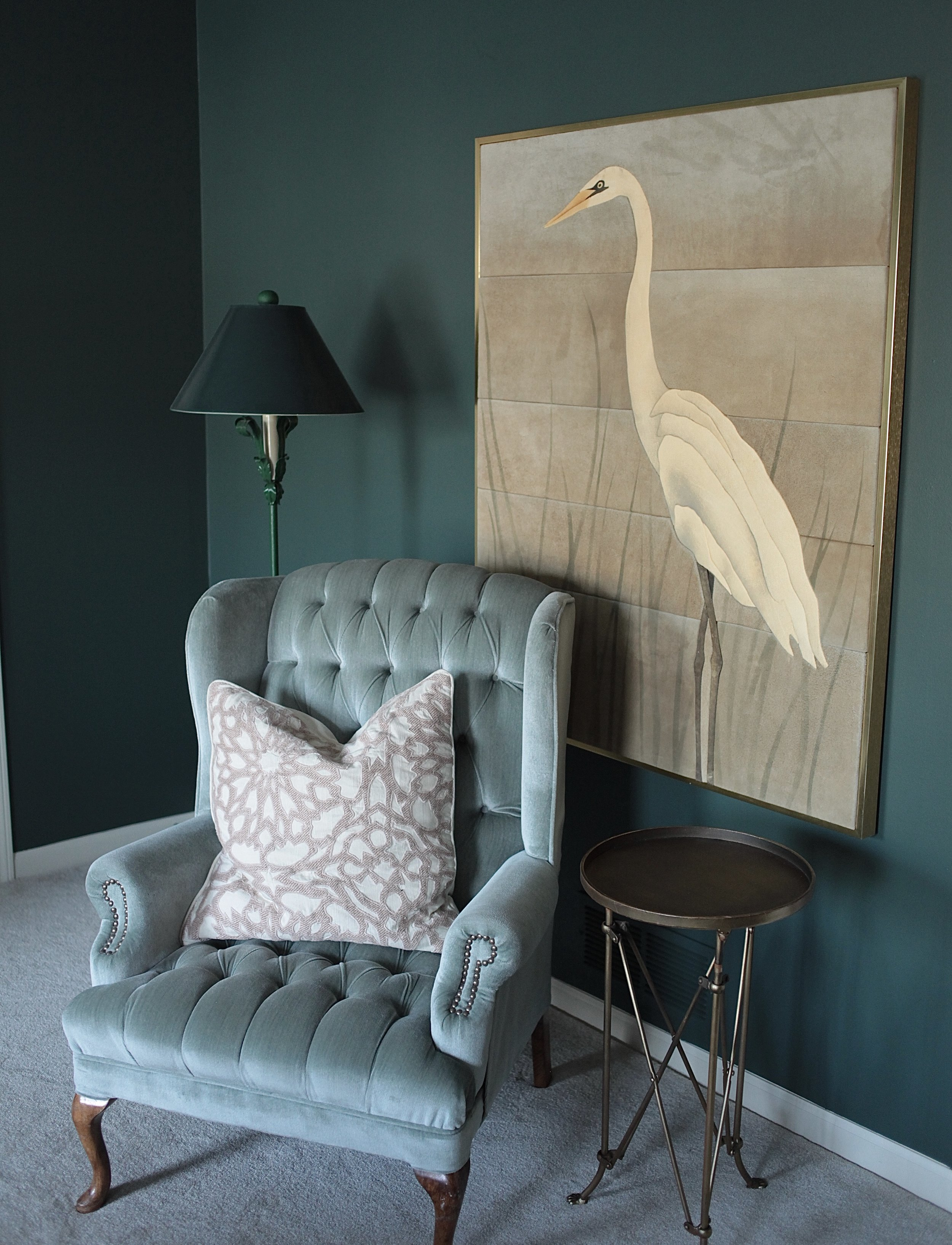 Goodwin Green paint color and egret art