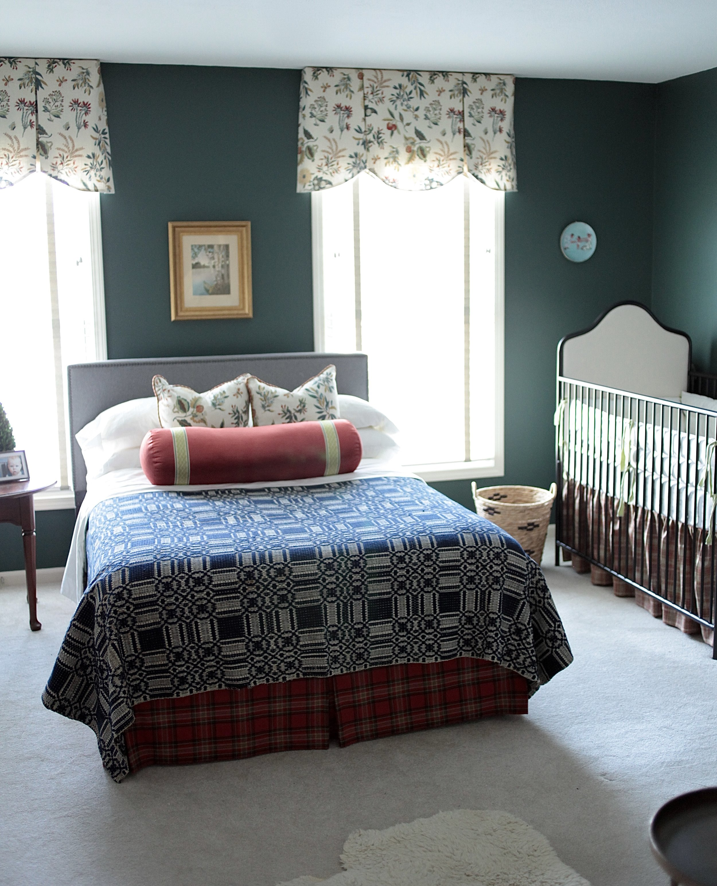 Traditional bedroom with Goodwin Green paint color.