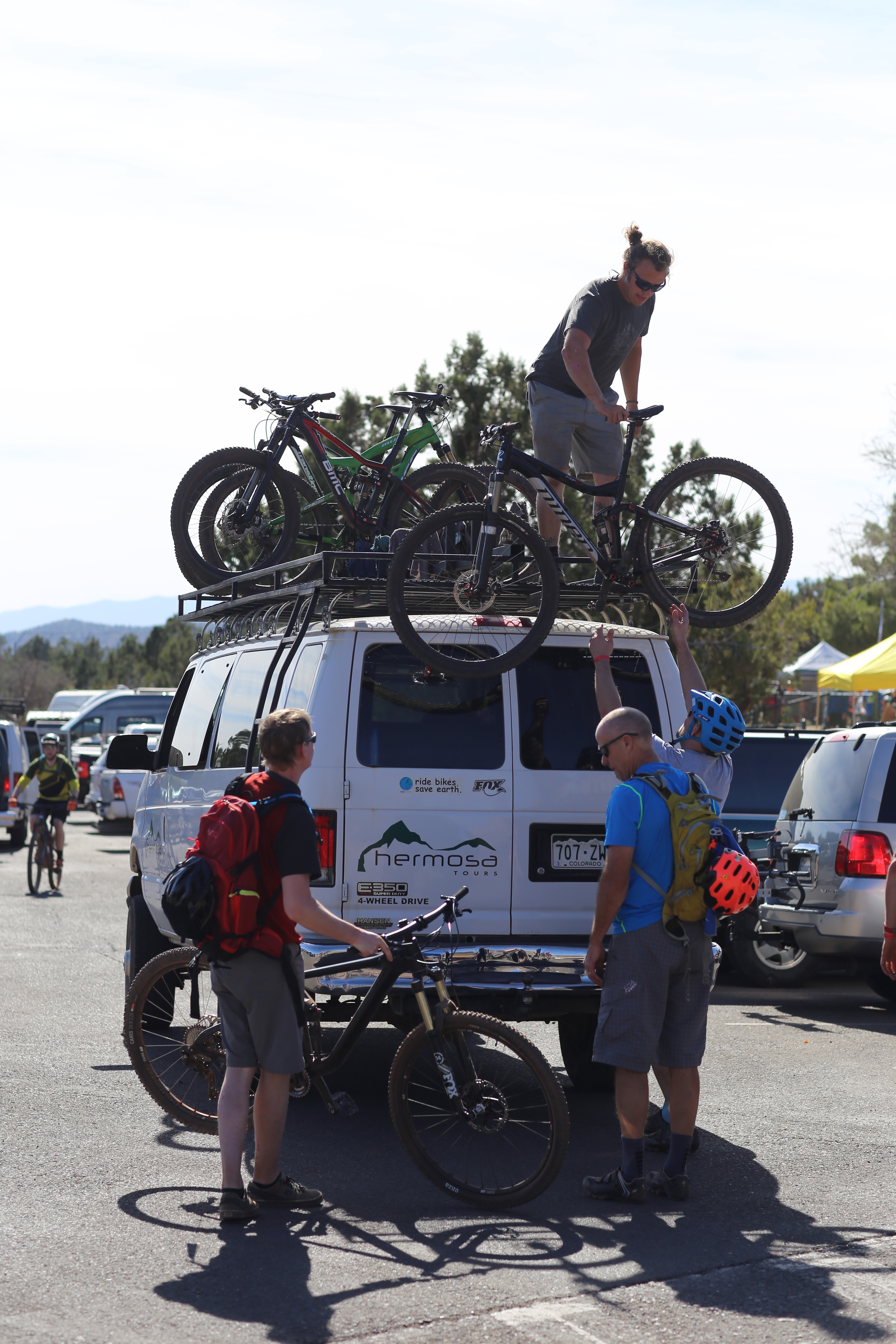 Offloading mountain bikes before some fun on the trails