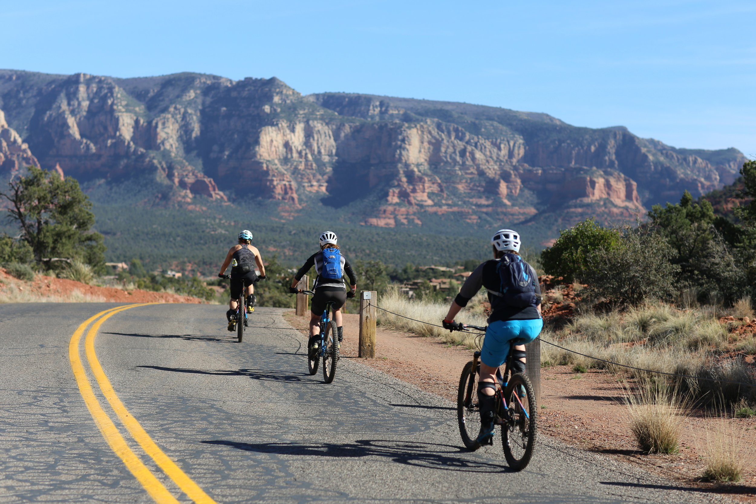 Bikers off to explore the trails around Posse Park, Sedona