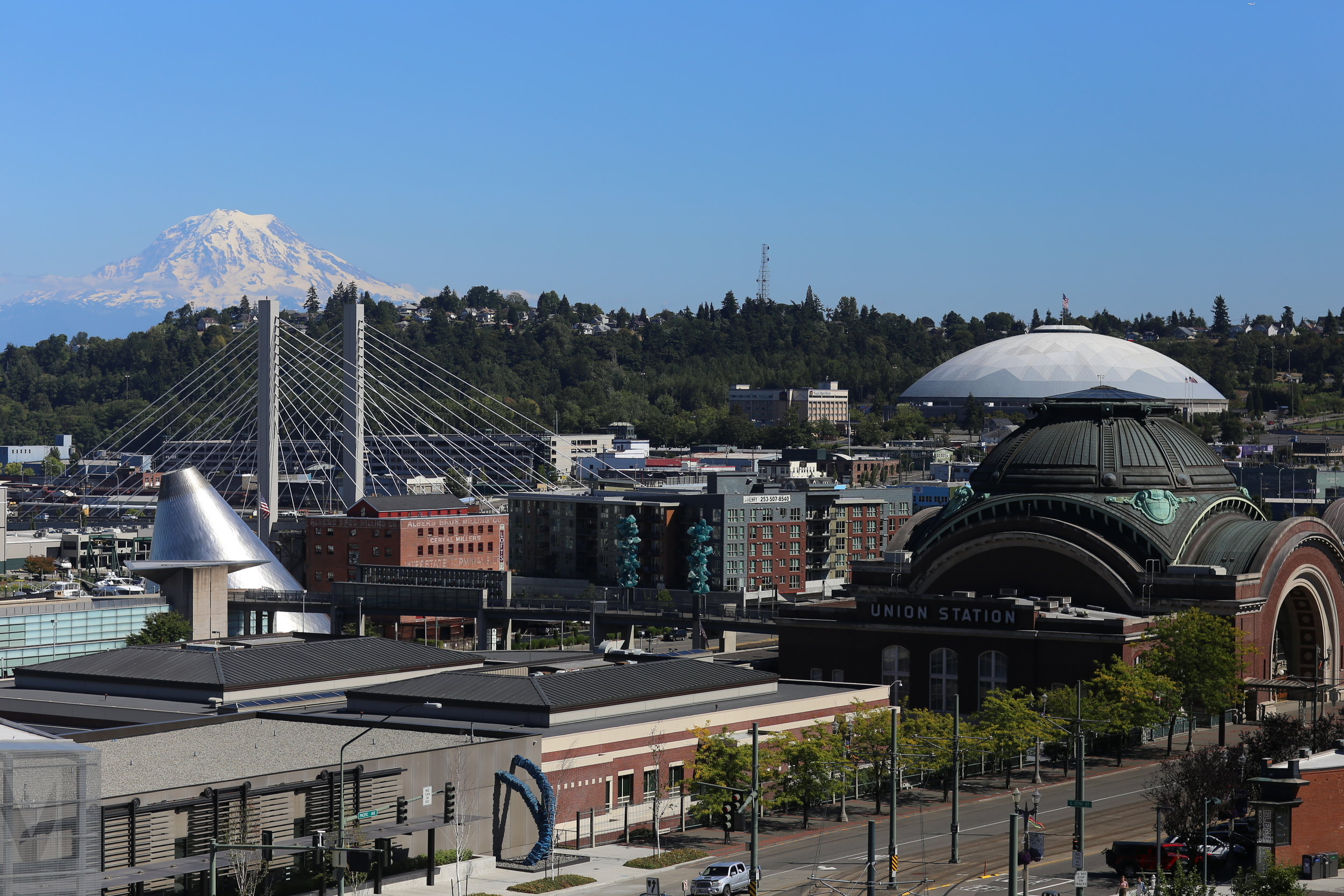 Views of Rainier and Tacoma from the convention center parking struture