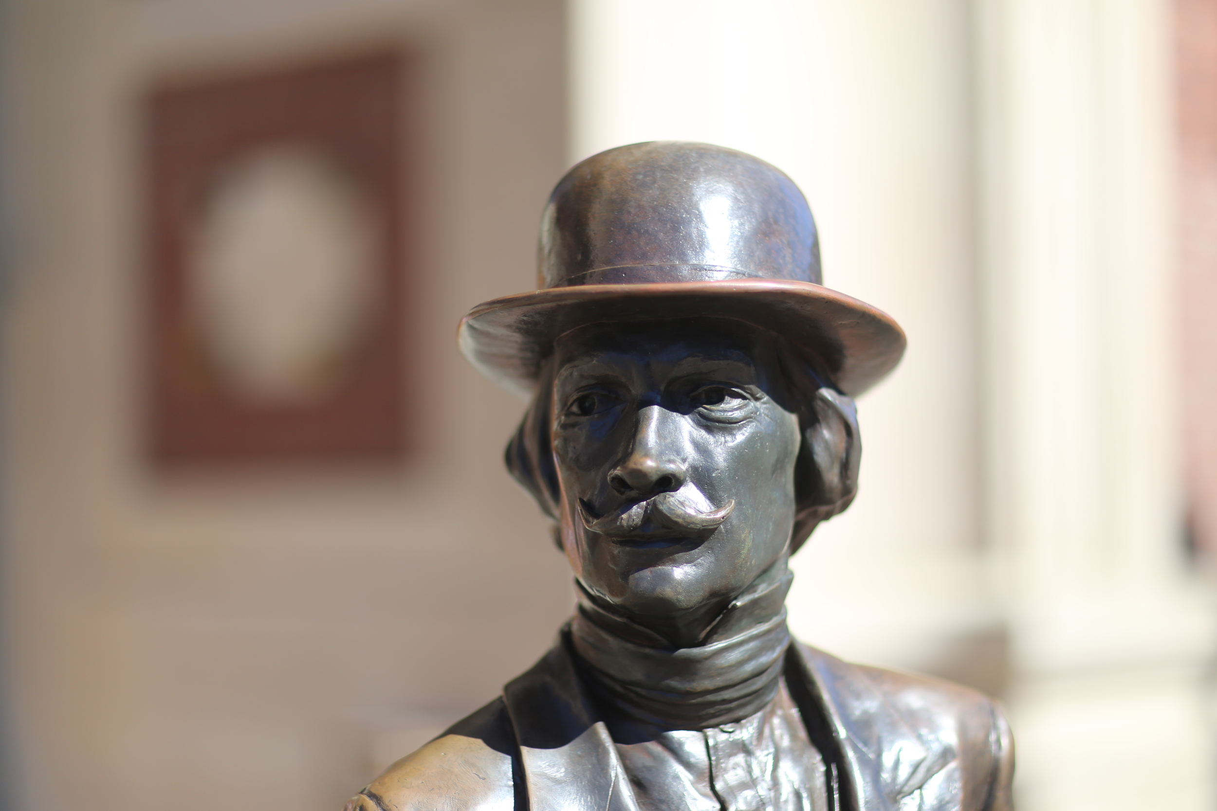 """Statue in front of Tacoma Union Station Courthouse -- """"New Beginnings: Celebrating Centennial of Tacoma, WA 1884 to 1984"""""""