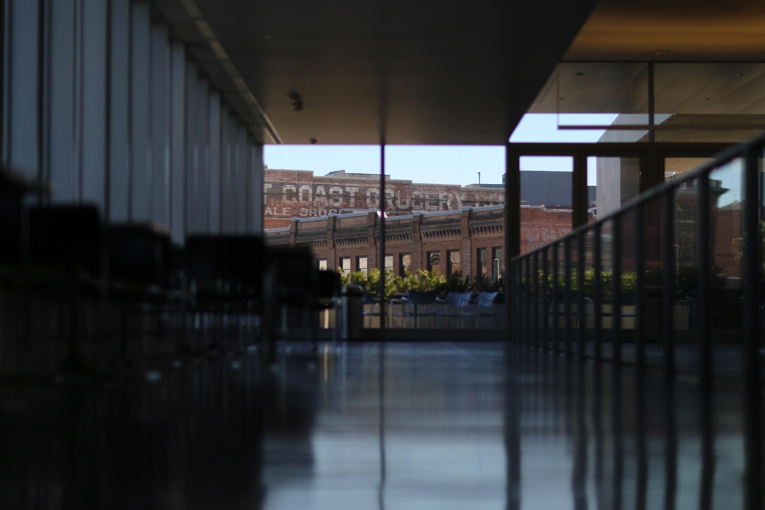 Walking to the Tacoma Art Museum balcony