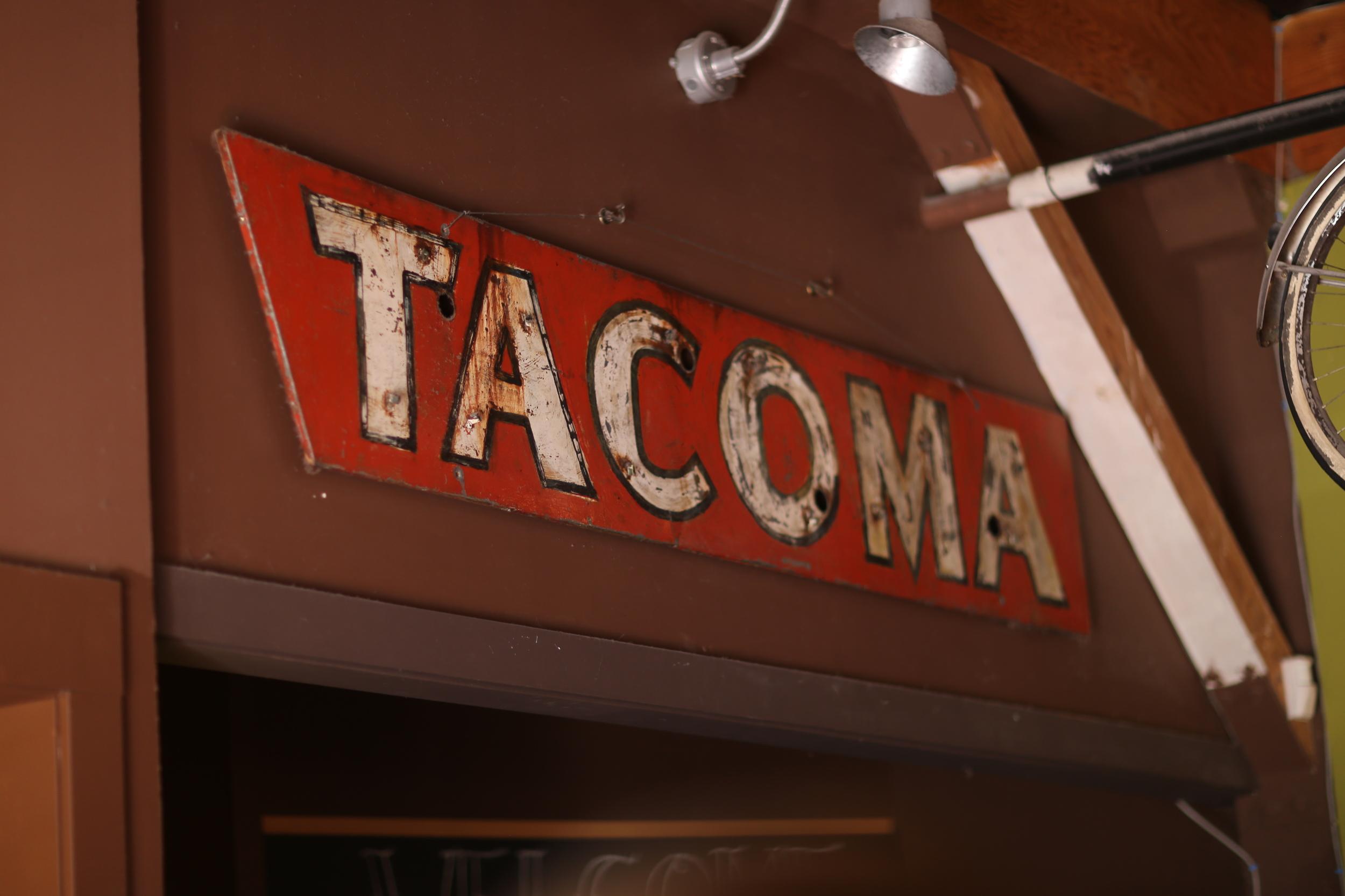 """""""Tacoma"""" sign at The Hub, Tacoma"""